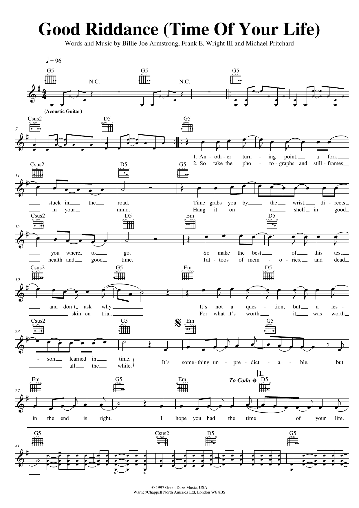 Good Riddance Chords Good Riddance Time Of Your Life Green Day Piano Vocal Guitar Right Hand Melody Digital Sheet Music
