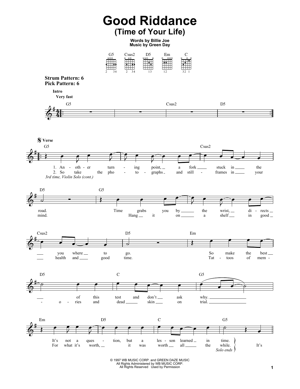 Good Riddance Chords Green Day Good Riddance Time Of Your Life Sheet Music Notes Chords