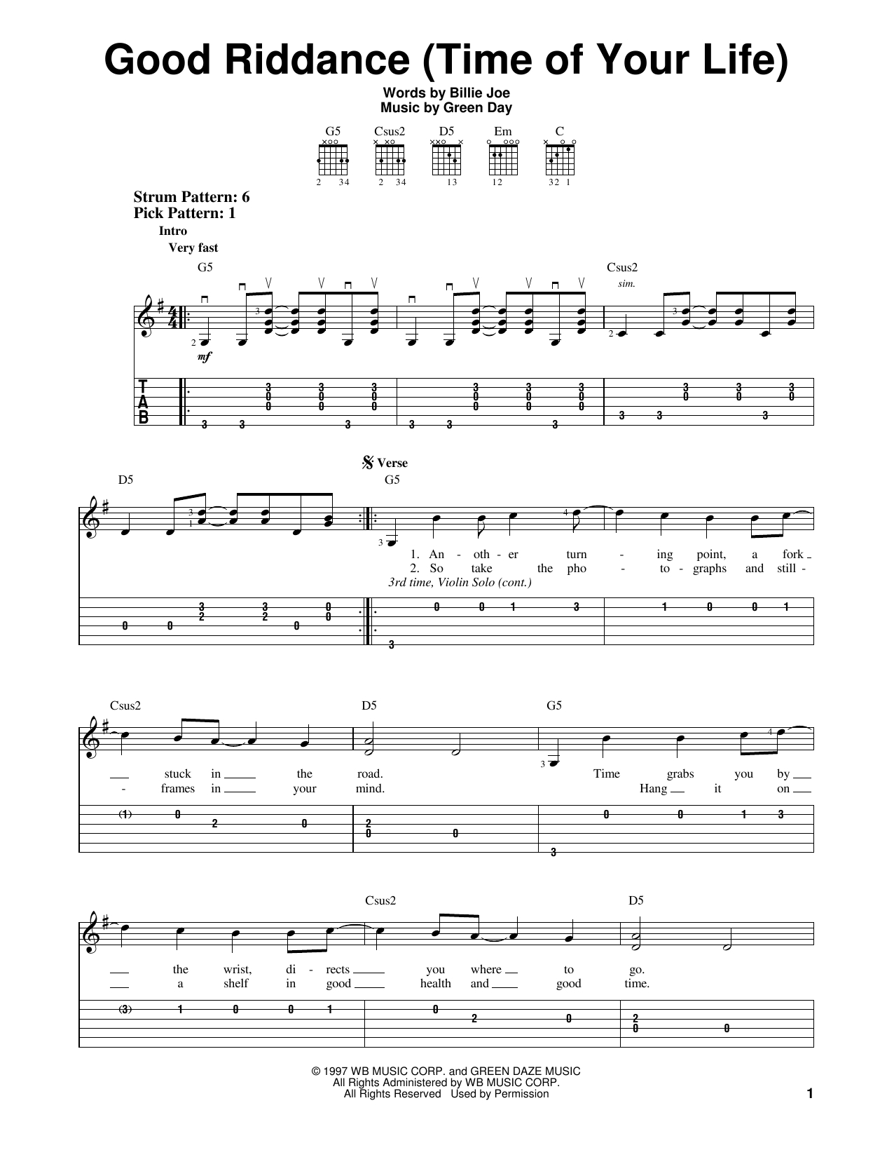Good Riddance Chords Sheet Music Digital Files To Print Licensed Green Day Digital