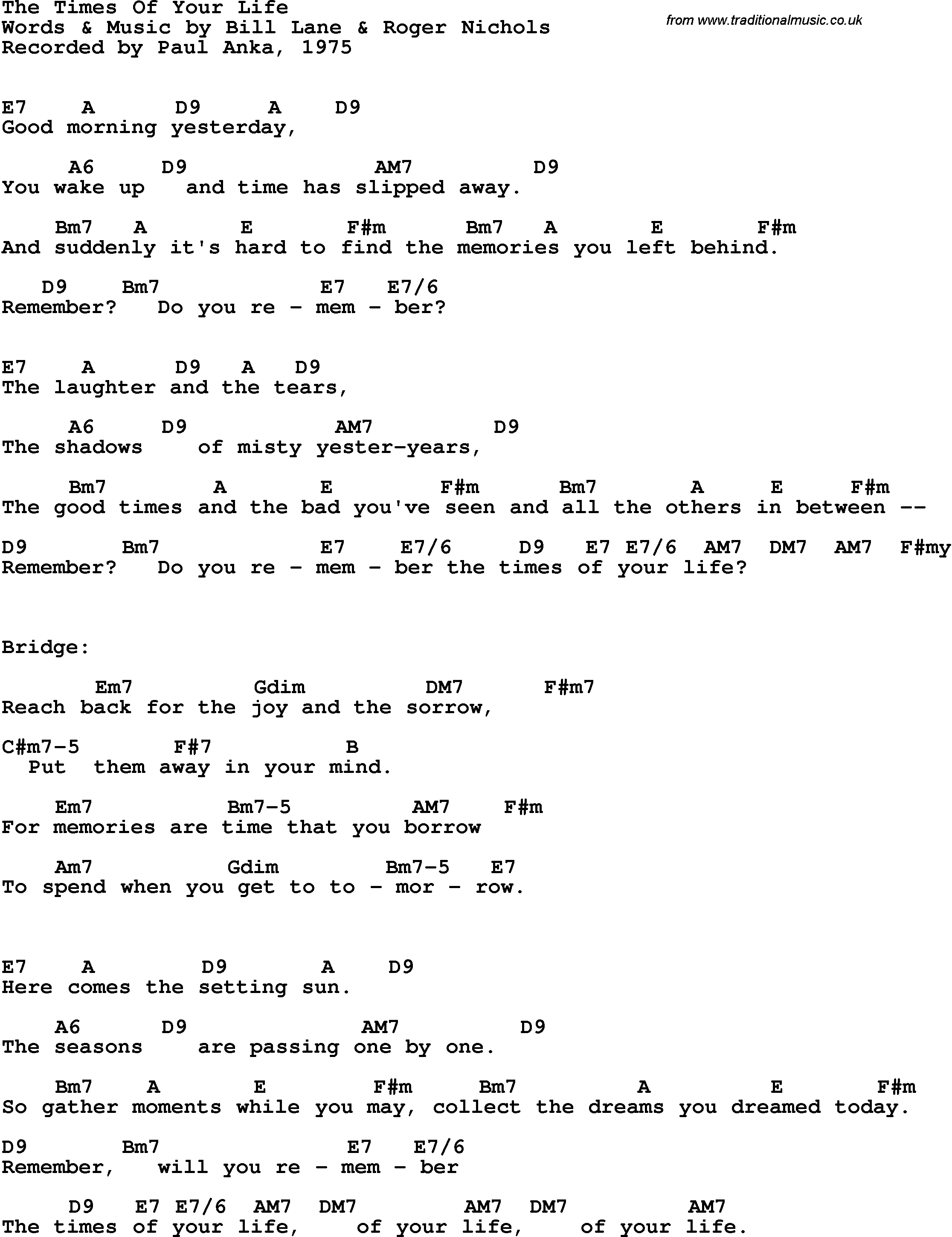 Good Riddance Chords Song Lyrics With Guitar Chords For Times Of Your Life The Paul