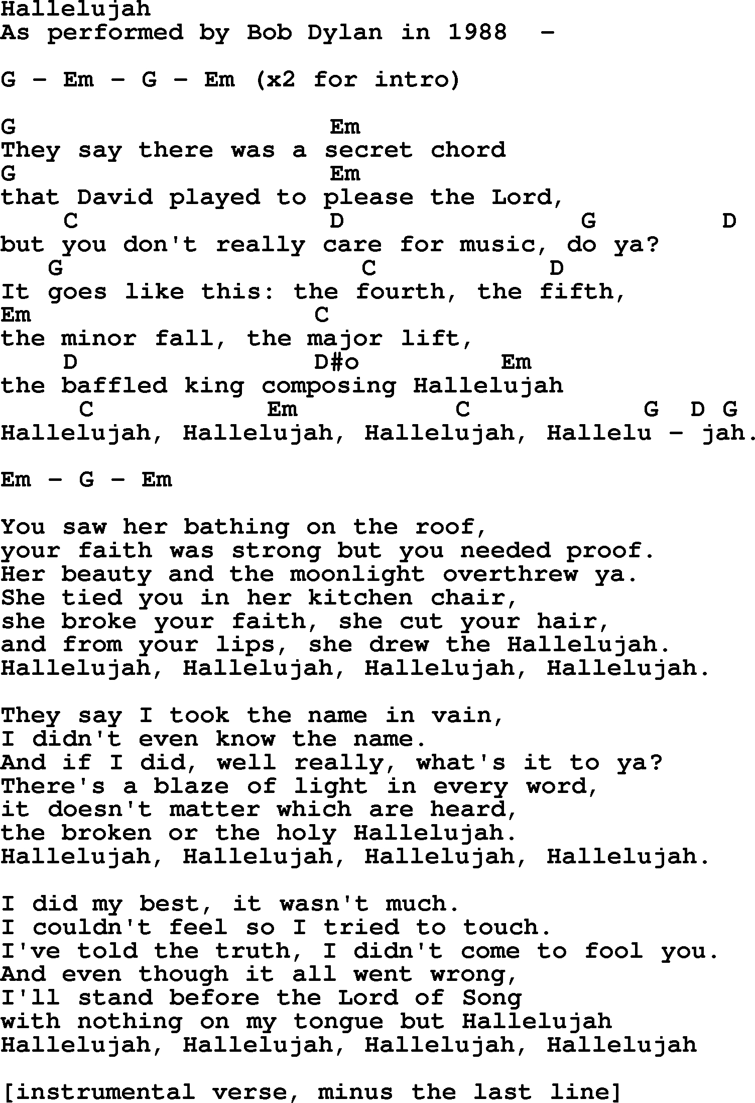 Hallelujah Ukulele Chords Bob Dylan Song Hallelujah Lyrics And Chords