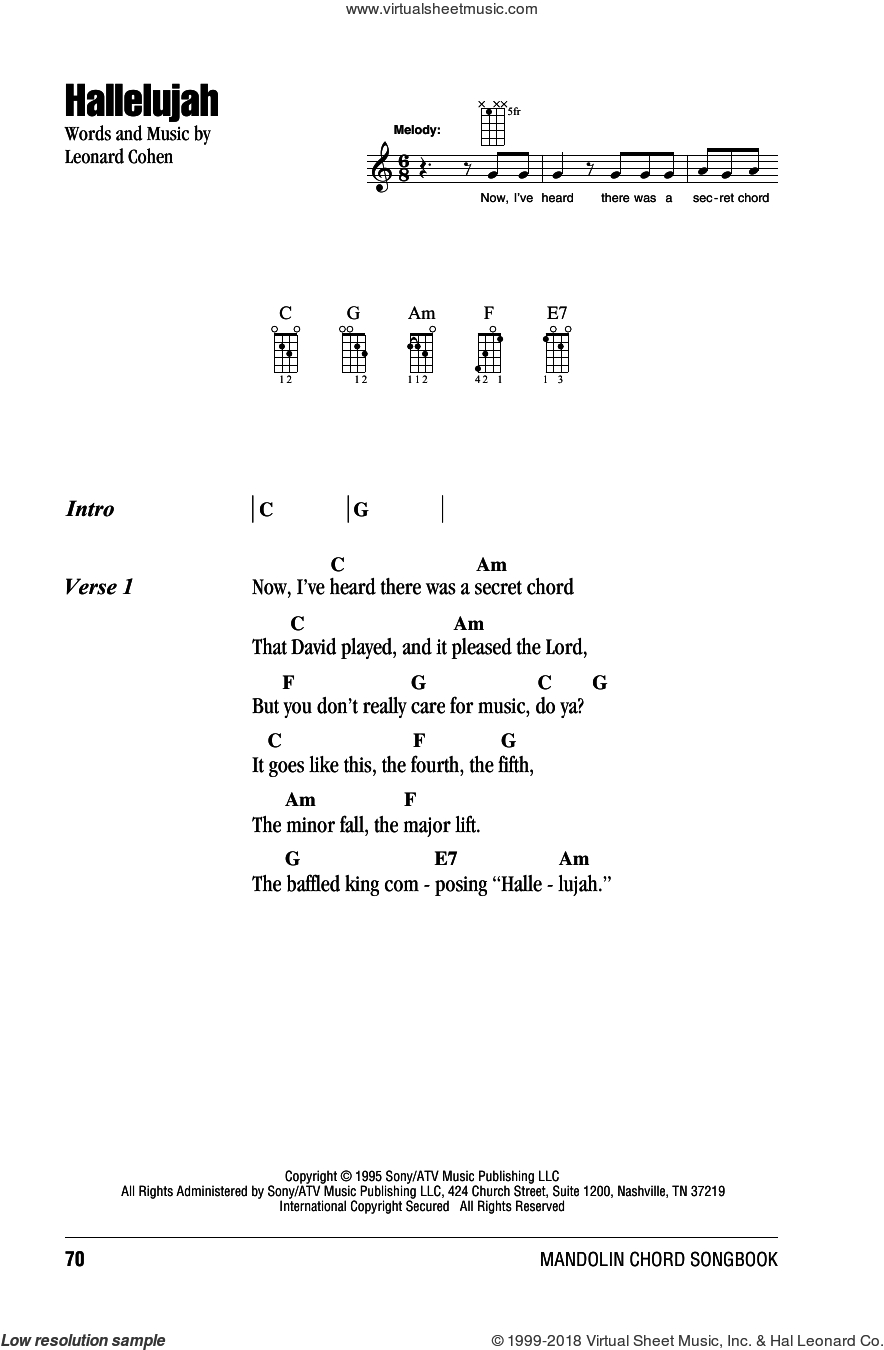 Hallelujah Ukulele Chords Cohen Hallelujah Sheet Music For Mandolin Chords Only Pdf