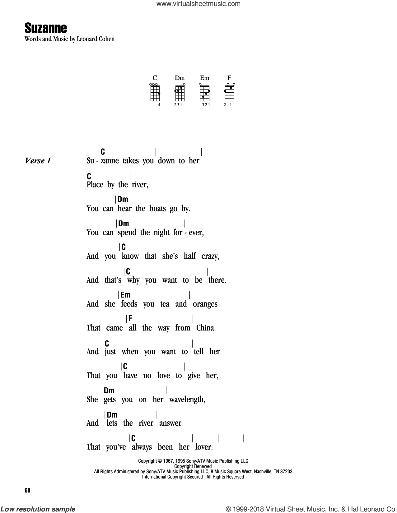 Hallelujah Ukulele Chords Cohen Suzanne Sheet Music For Ukulele Chords Pdf