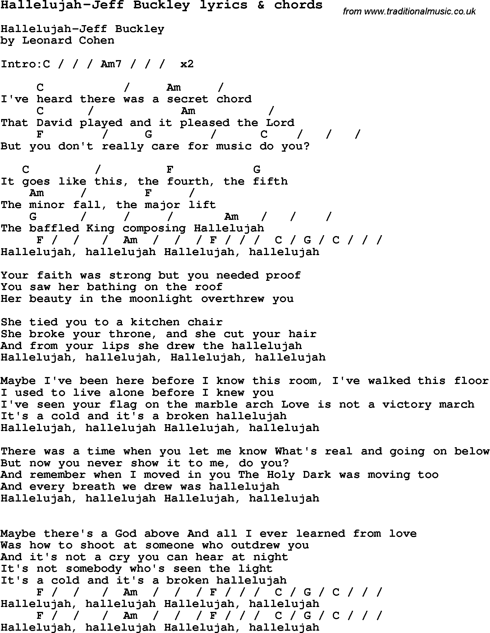 Hallelujah Ukulele Chords Love Song Lyrics Forhallelujah Jeff Buckley With Chords