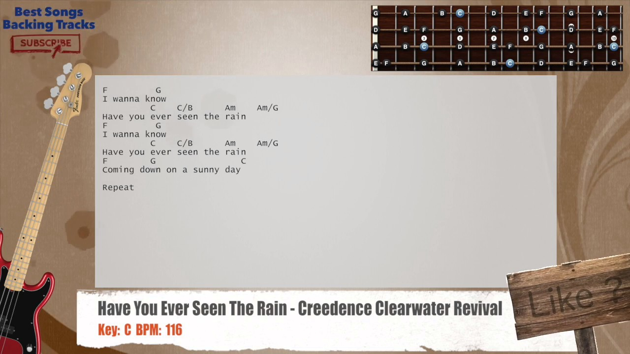 Have You Ever Seen The Rain Chords Have You Ever Seen The Rain Creedence Clearwater Revival Bass Backing Track With Chords And Lyrics