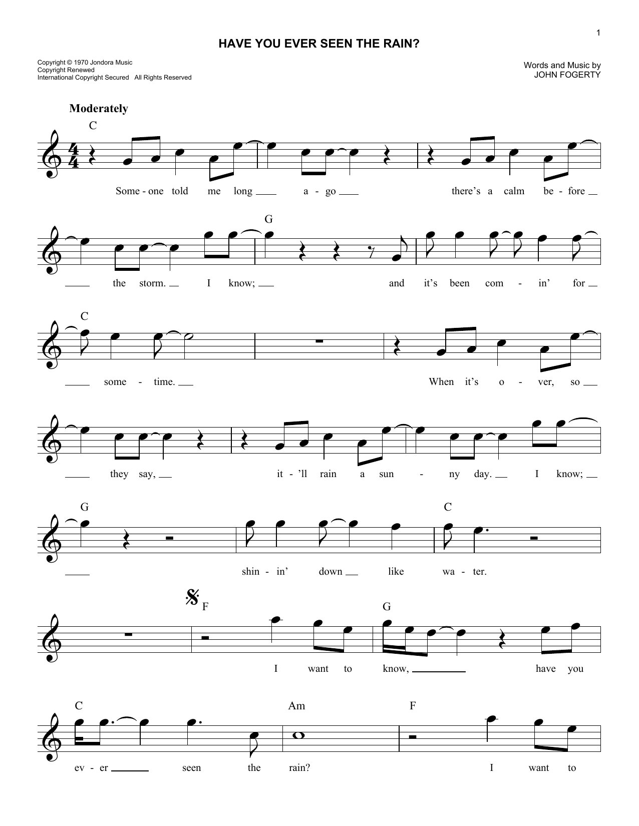 Have You Ever Seen The Rain Chords Have You Ever Seen The Rain Creedence Clearwater Revival Piano Vocal Guitar Right Hand Melody Digital Sheet Music