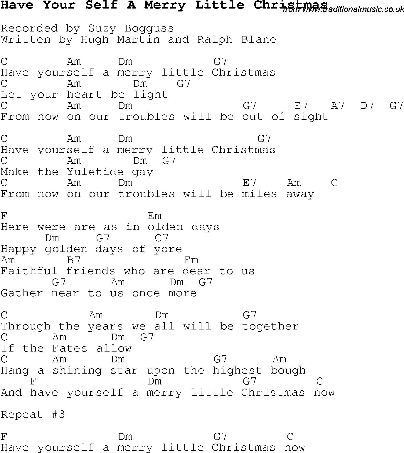 Have Yourself A Merry Little Christmas Chords Christmas Carolsong Lyrics With Chords For Have Your Self A Merry