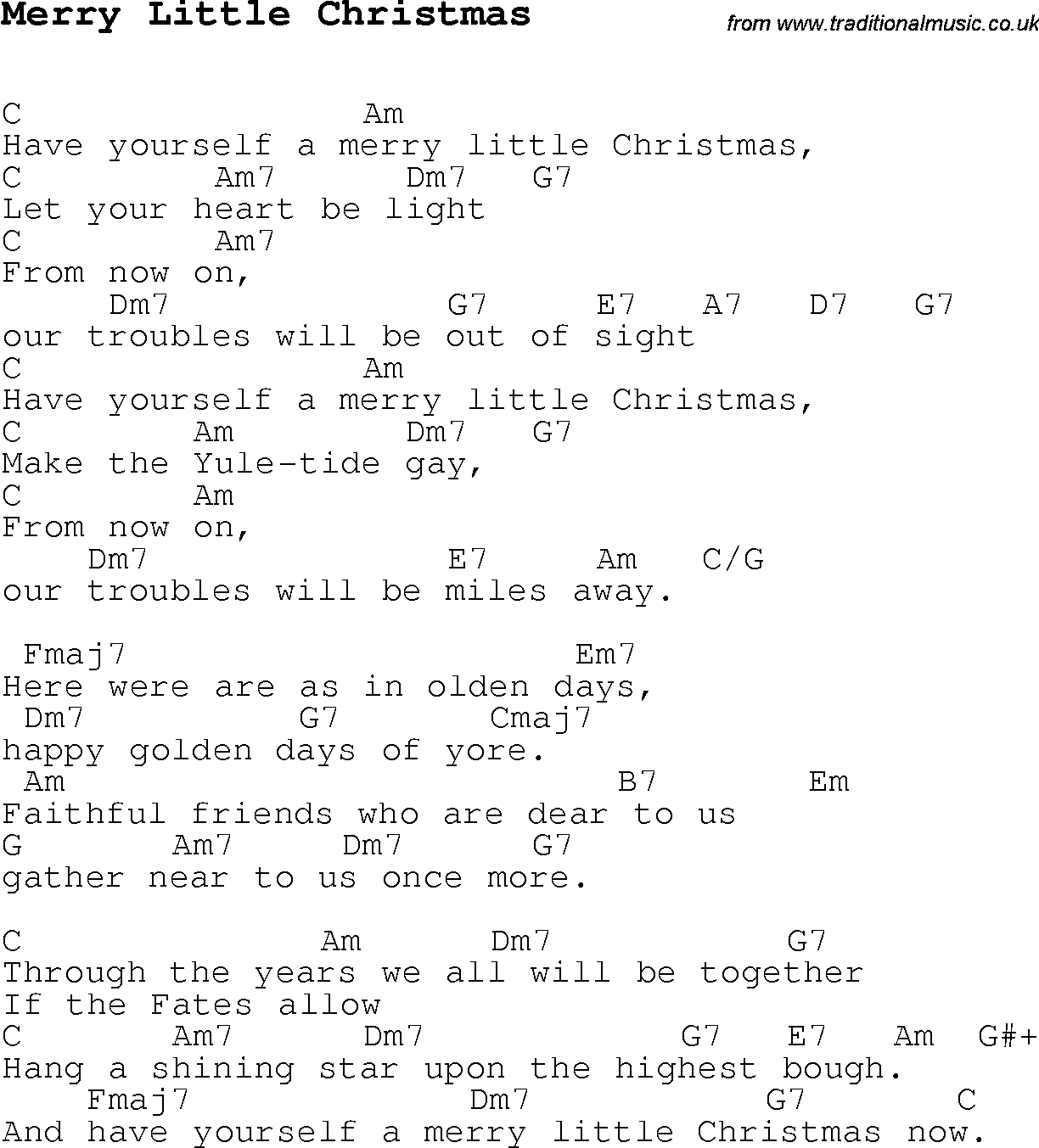 Have Yourself A Merry Little Christmas Chords Christmas Carolsong Lyrics With Chords For Merry Little Christmas