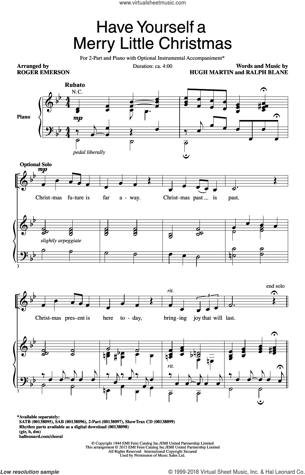Have Yourself A Merry Little Christmas Chords Emerson Have Yourself A Merry Little Christmas Sheet Music For Choir 2 Part