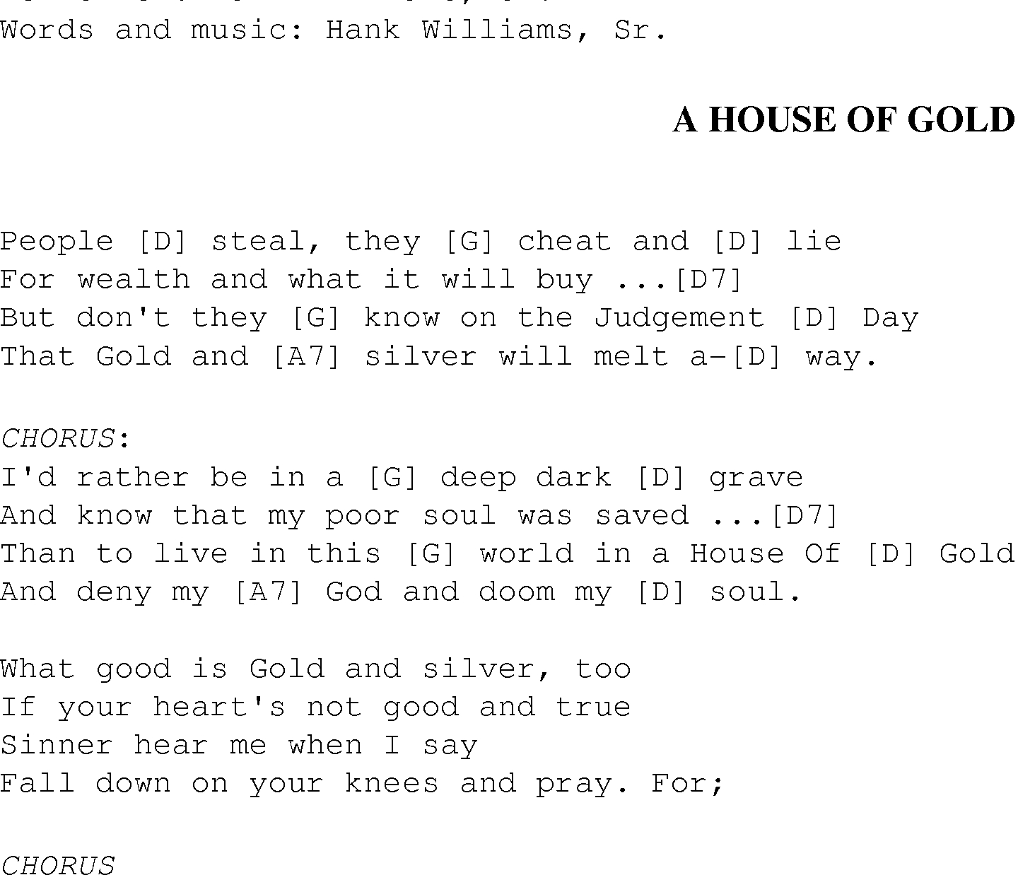 Heart Of Gold Chords A House Of Gold Christian Gospel Song Lyrics And Chords