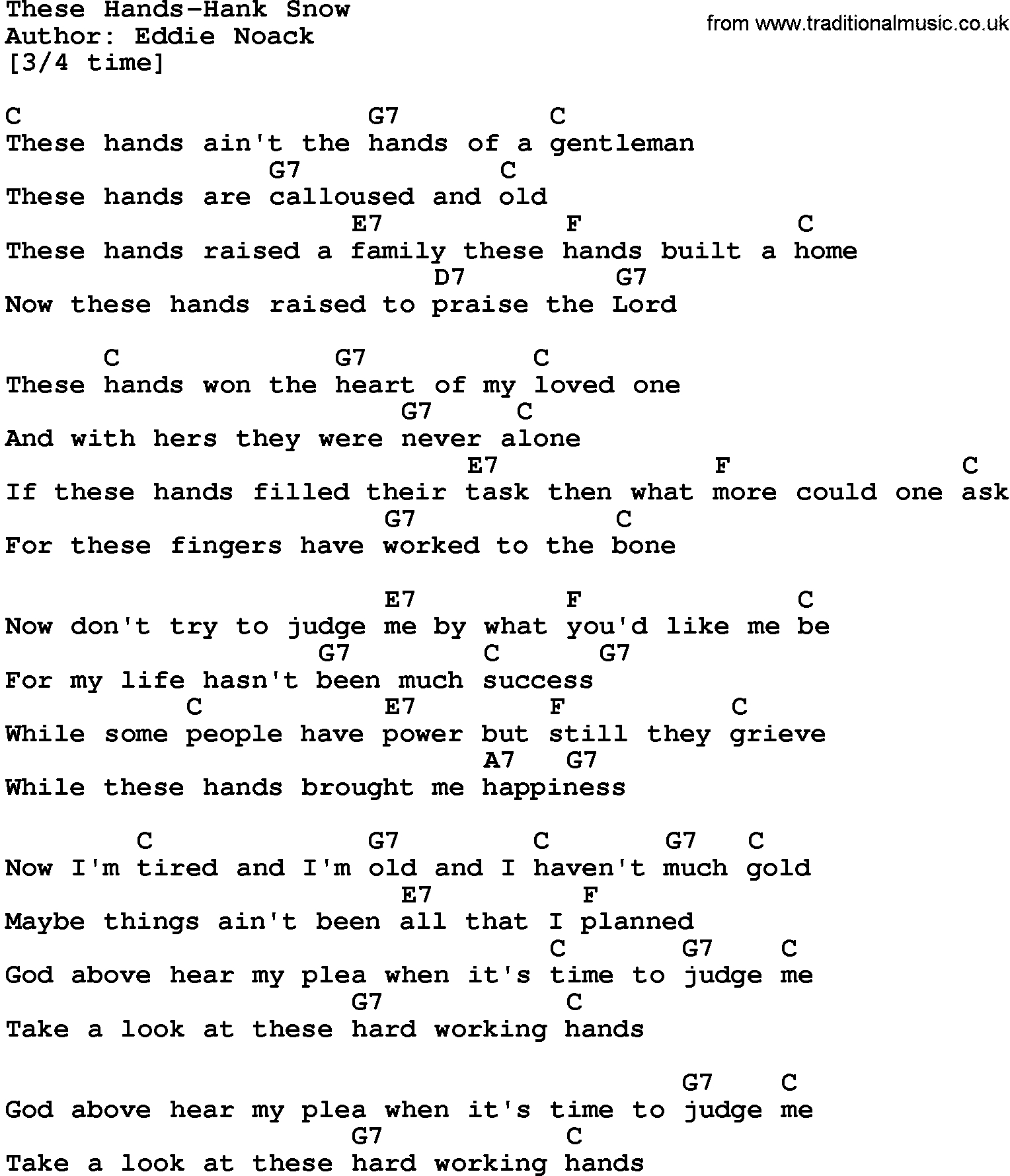 Heart Of Gold Chords Country Musicthese Hands Hank Snow Lyrics And Chords