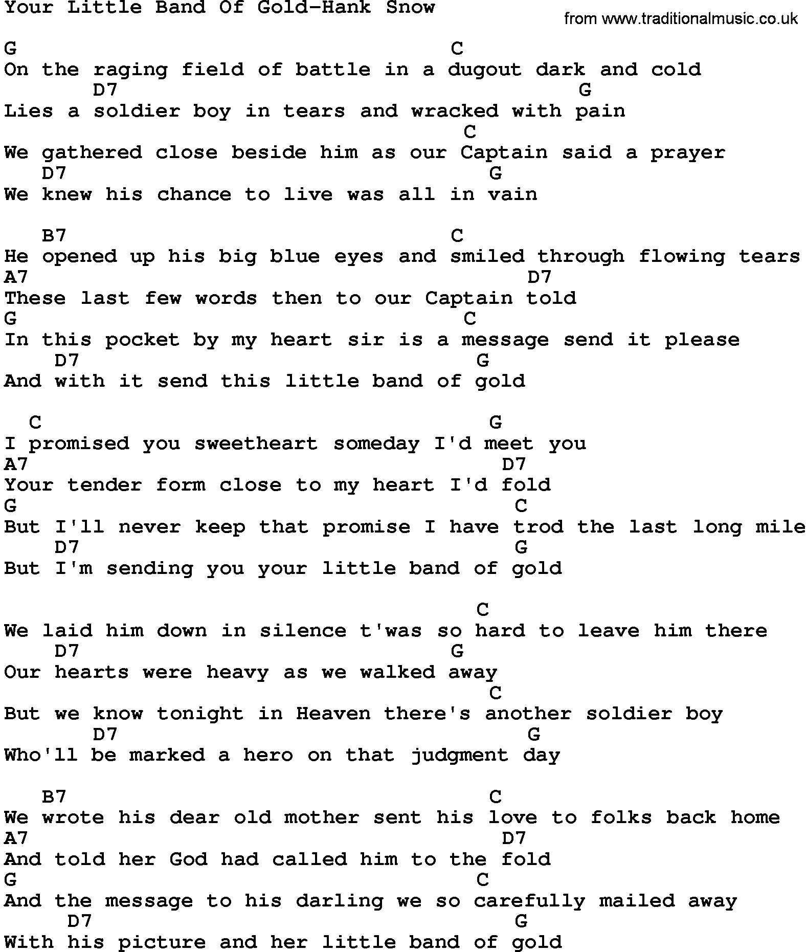 Heart Of Gold Chords Country Musicyour Little Band Of Gold Hank Snow Lyrics And Chords