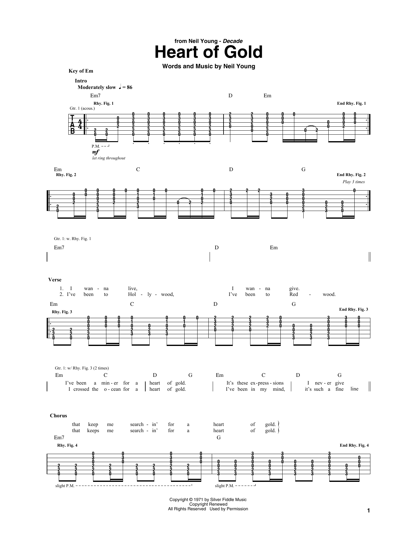 Heart Of Gold Chords Heart Of Gold Neil Young Guitar Rhythm Tab Guitar Instructor