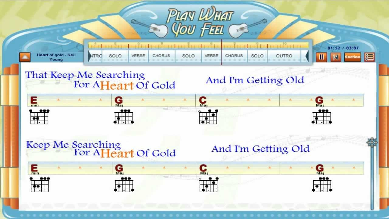Heart Of Gold Chords Heart Of Gold Neil Young Guitaraoke Chords Lyrics Guitar Lesson Playwhatyoufeel