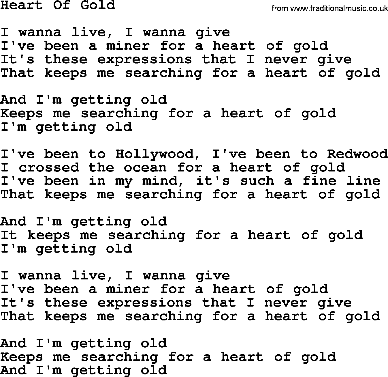 Heart Of Gold Chords Willie Nelson Song Heart Of Gold Lyrics