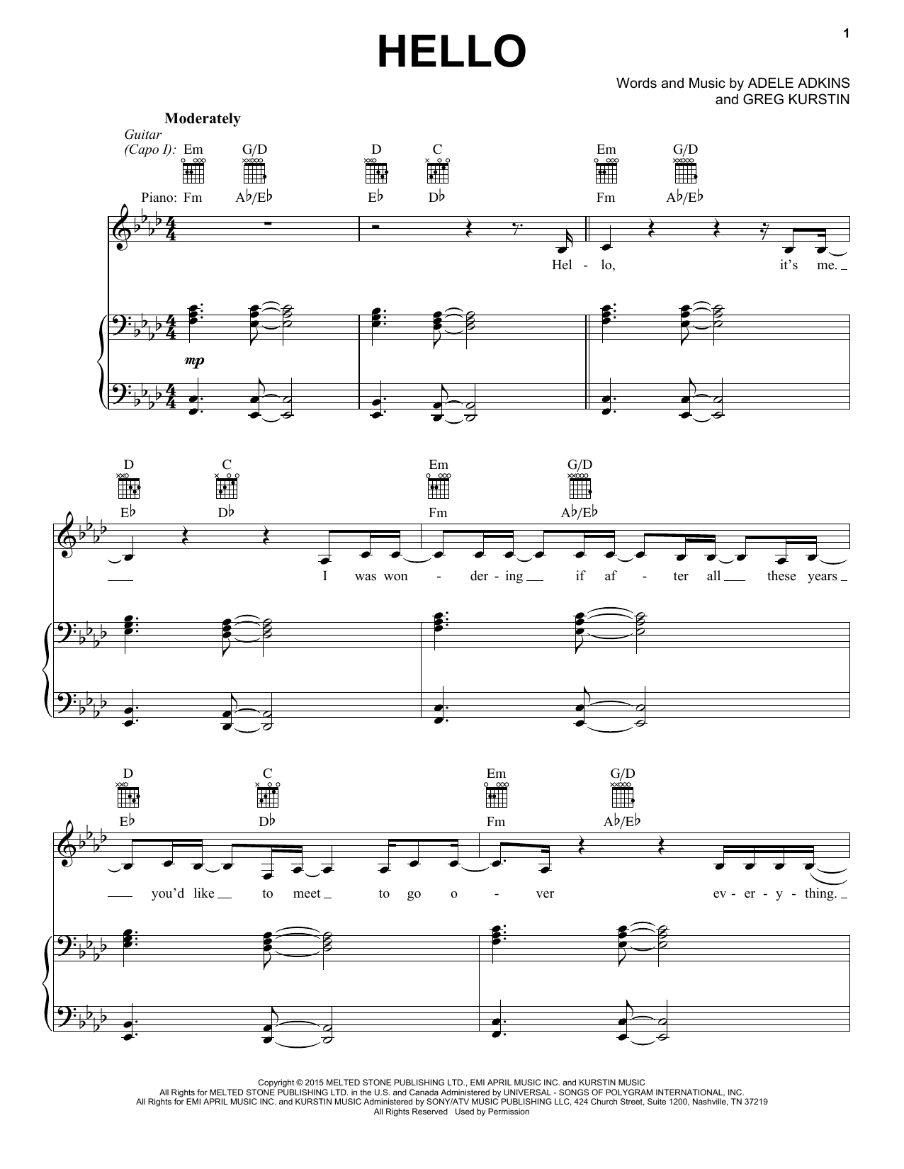 Hello Piano Chords Adele Hello Sheet Music Notes Chords Download Printable Vpropg Sku 405269