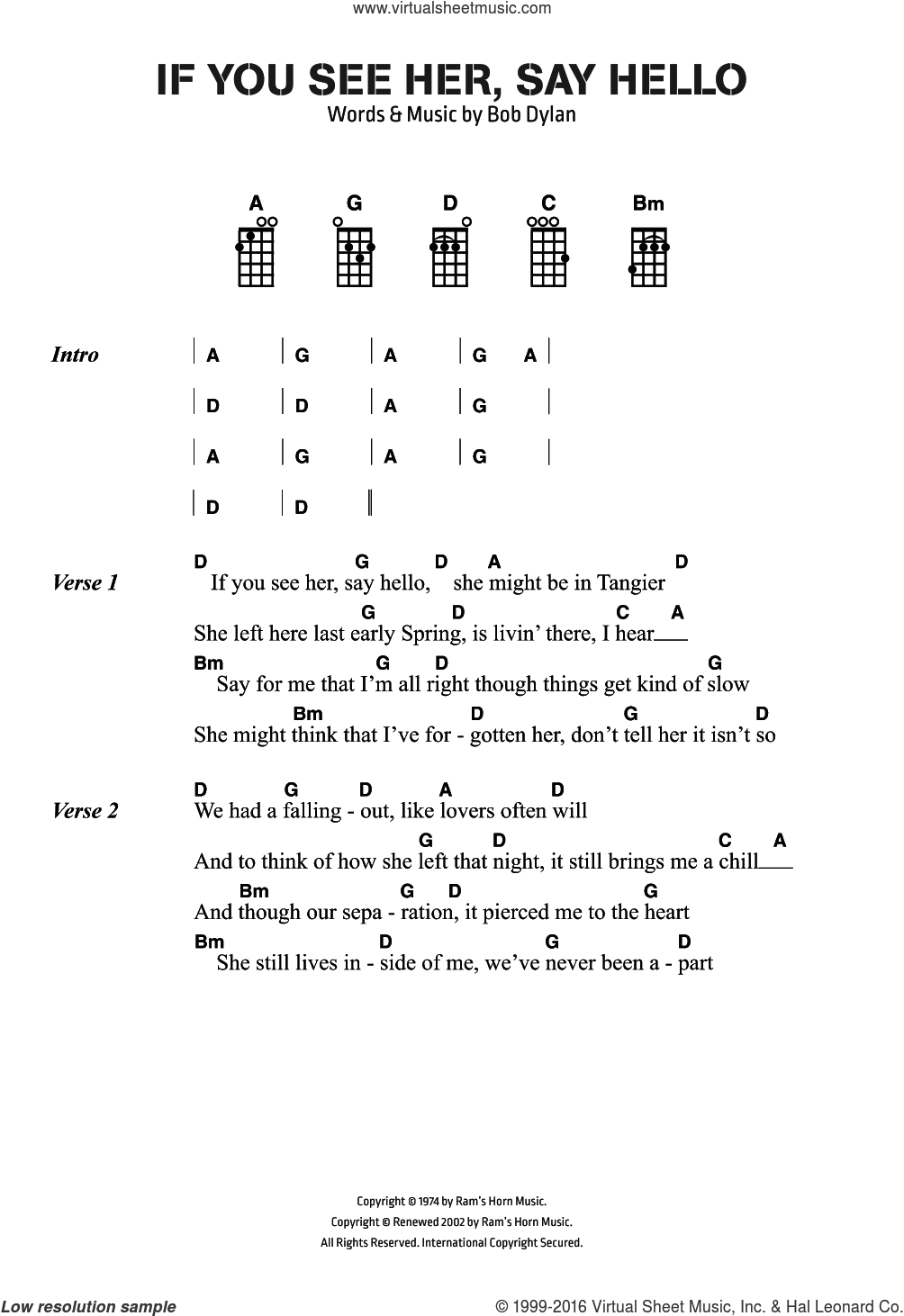 Hello Piano Chords Dylan If You See Her Say Hello Sheet Music For Voice Piano Or Guitar