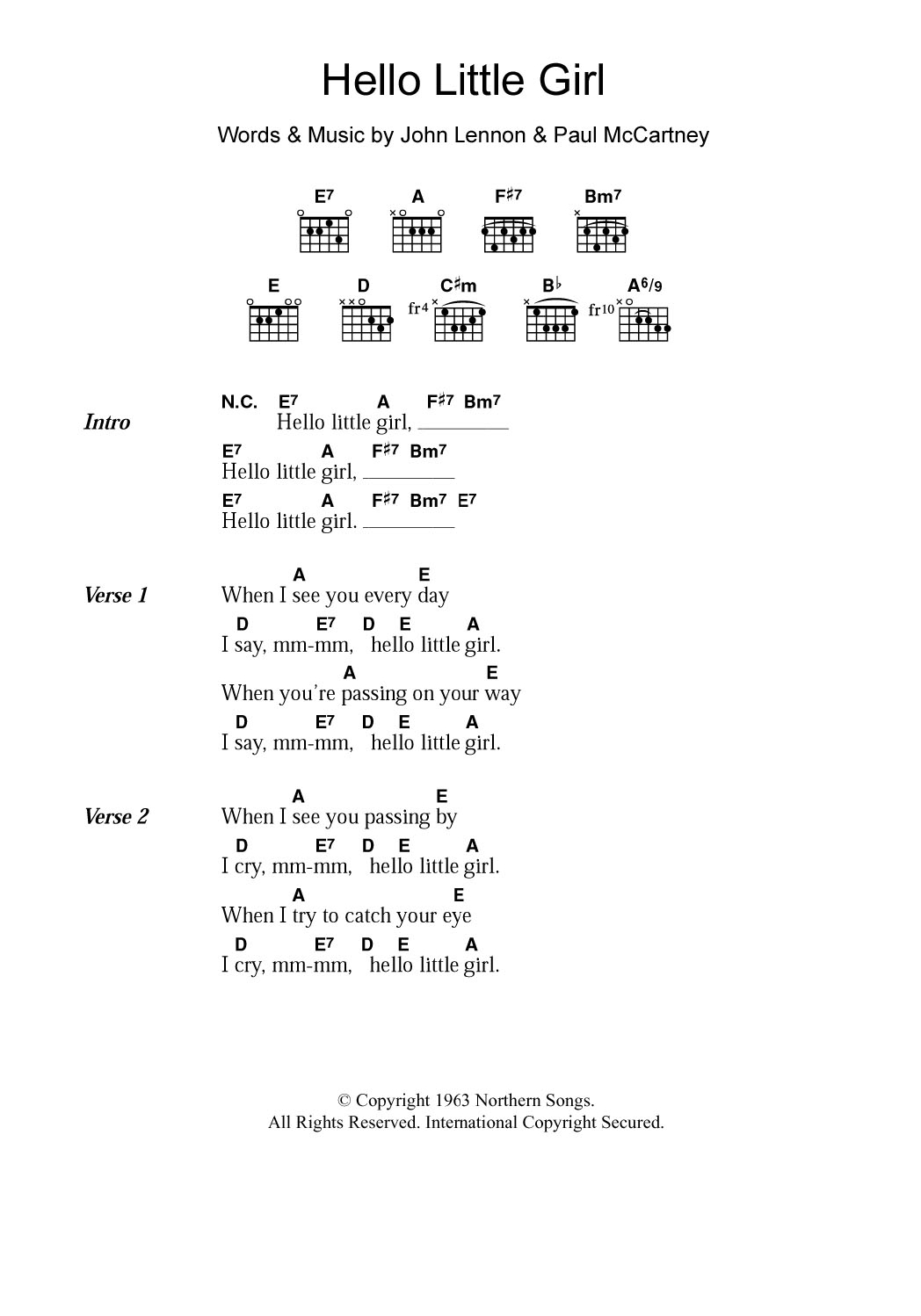 Hello Piano Chords Hello Little Girl The Beatles Piano Vocal Guitar Right Hand Melody Digital Sheet Music
