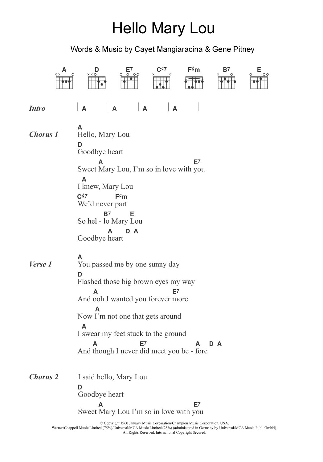 Hello Piano Chords Hello Mary Lou Ricky Nelson Piano Vocal Guitar Right Hand Melody Digital Sheet Music