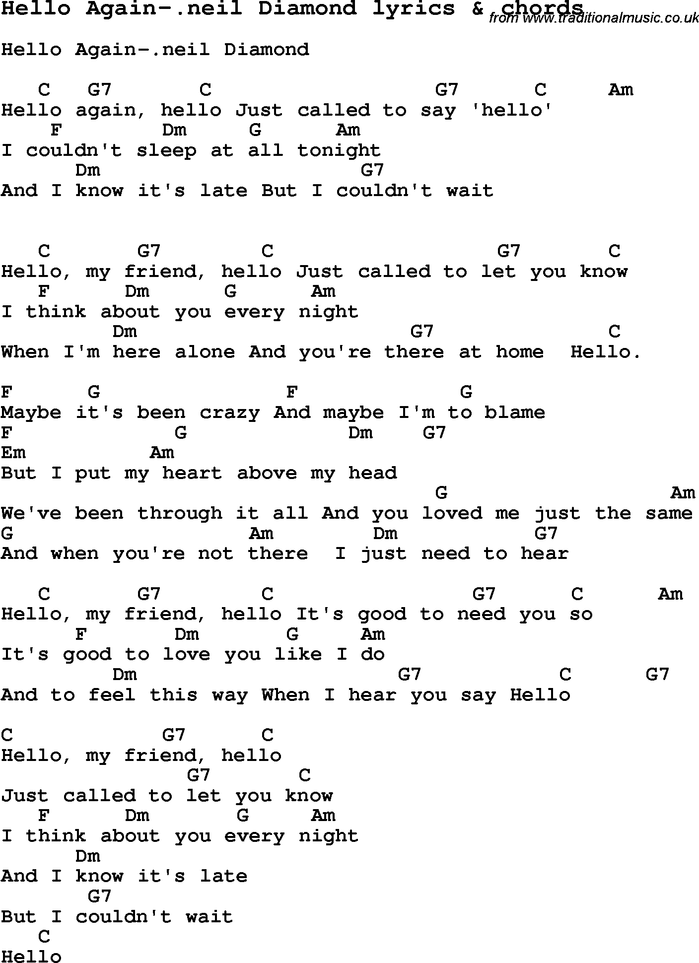 Hello Piano Chords Love Song Lyrics Forhello Again Neil Diamond With Chords