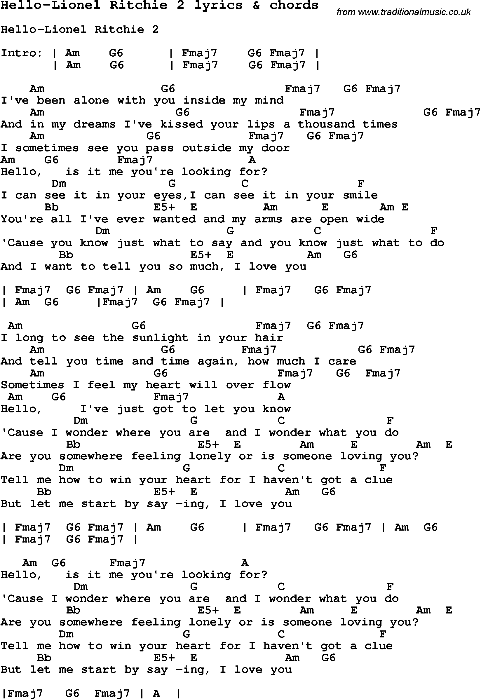 Hello Piano Chords Love Song Lyrics Forhello Lionel Ritchie 2 With Chords