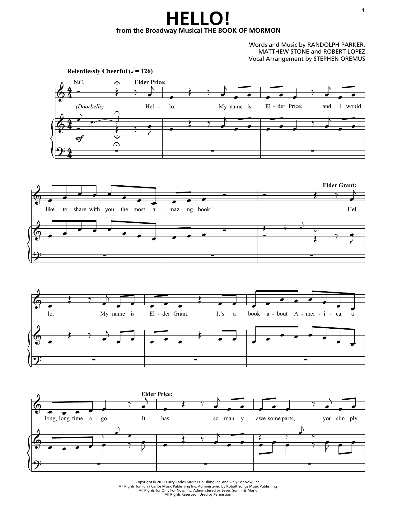 Hello Piano Chords Trey Parker Matt Stone Hello From The Book Of Mormon Sheet Music Notes Chords Download Printable Piano Vocal Sku 198851