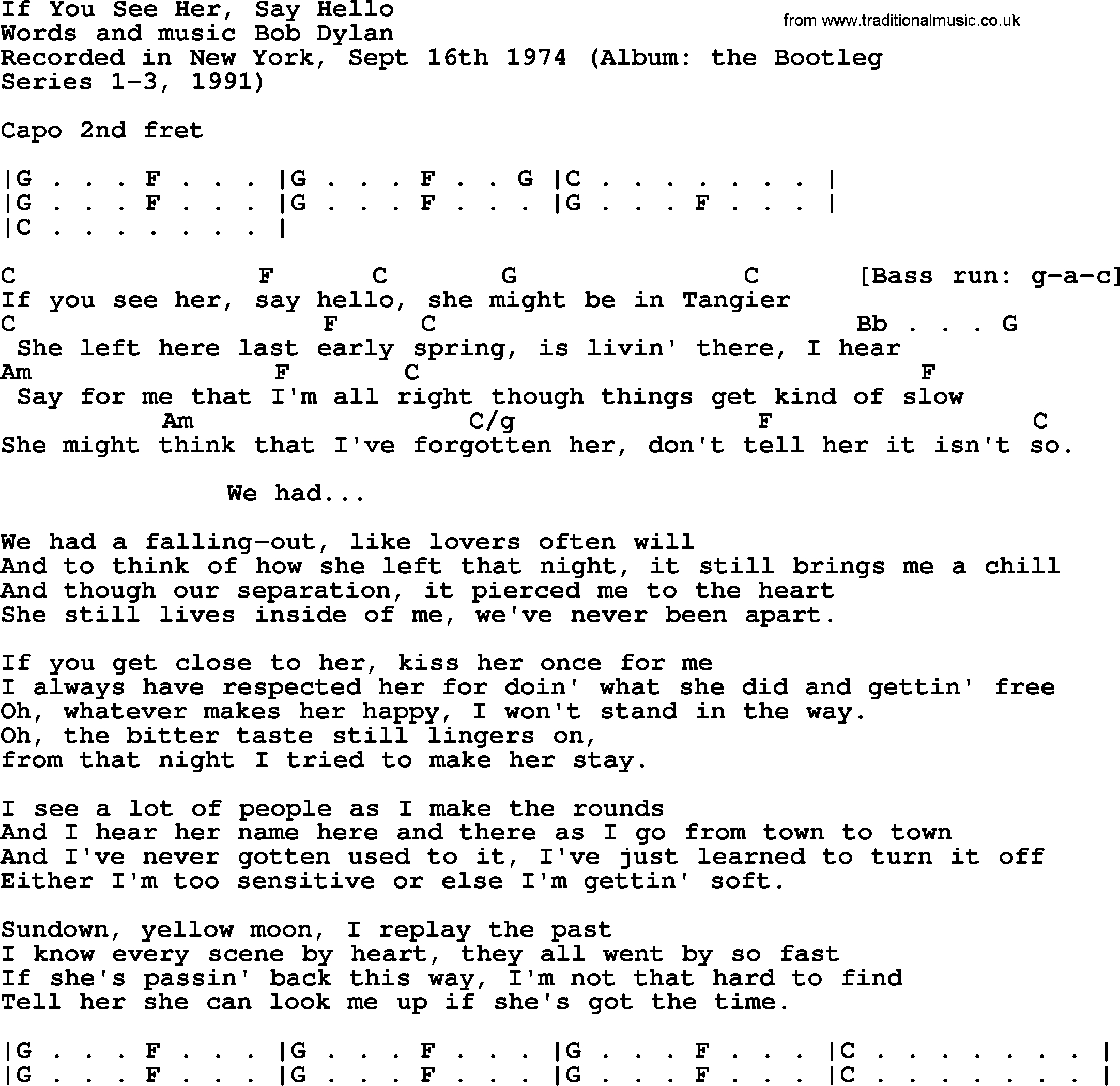 Hello Ukulele Chords Bob Dylan Song If You See Her Say Hello Lyrics And Chords