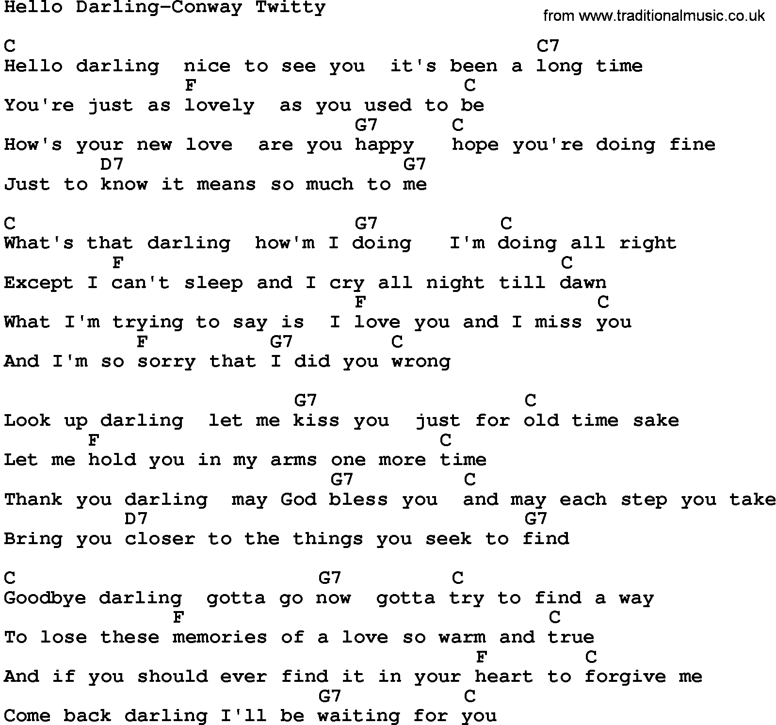 Hello Ukulele Chords Country Musichello Darling Conway Twitty Lyrics And Chords