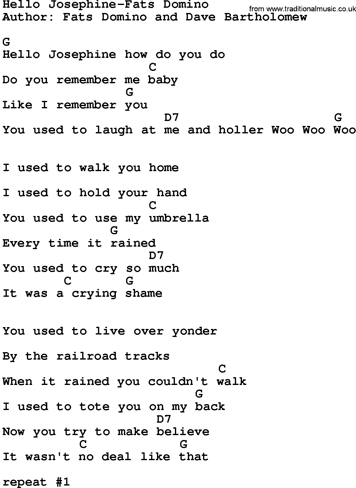 Hello Ukulele Chords Country Musichello Josephine Fats Domino Lyrics And Chords