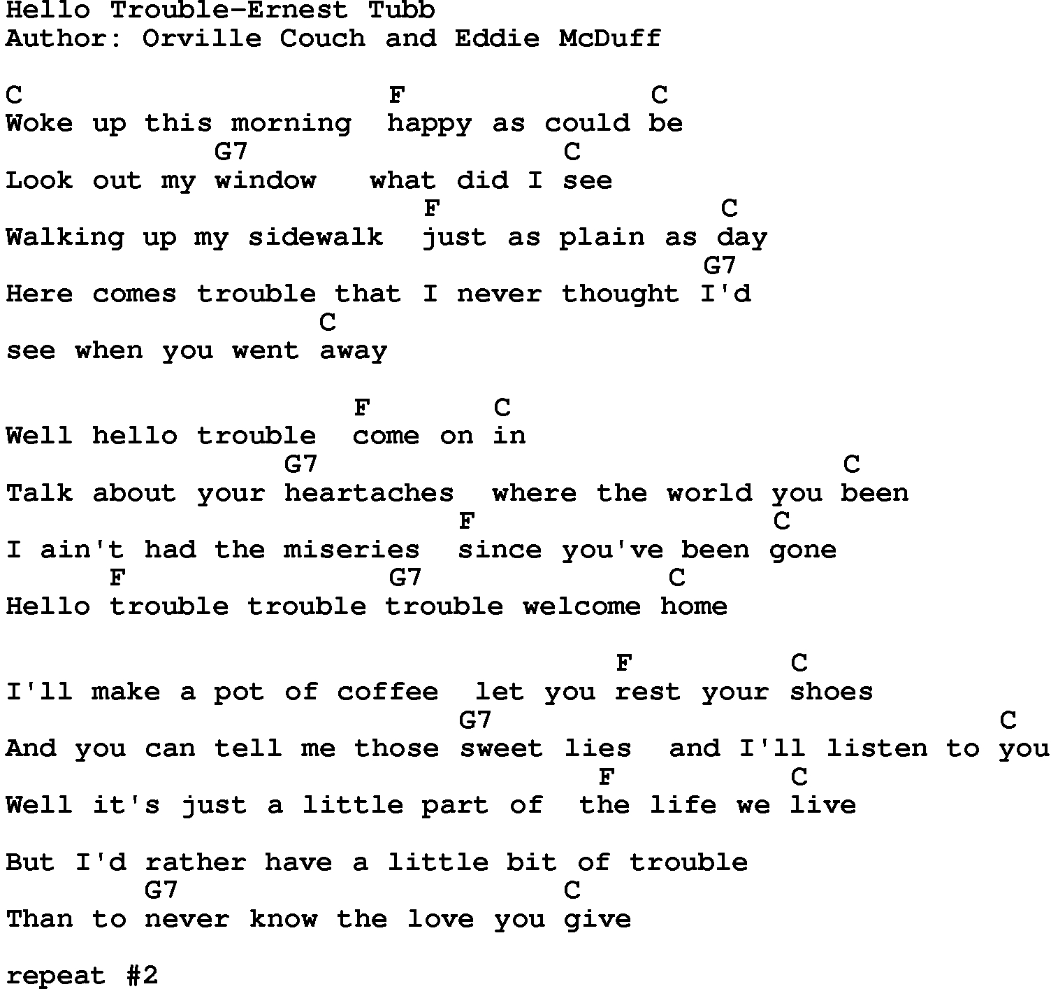 Hello Ukulele Chords Country Musichello Trouble Ernest Tubb Lyrics And Chords