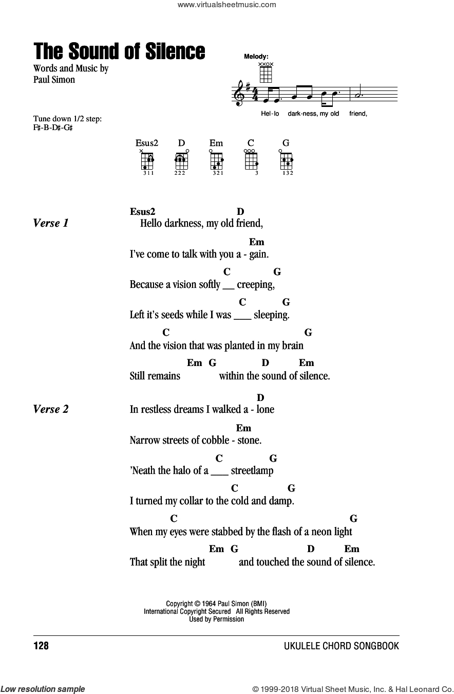 Hello Ukulele Chords Garfunkel The Sound Of Silence Sheet Music For Ukulele Chords
