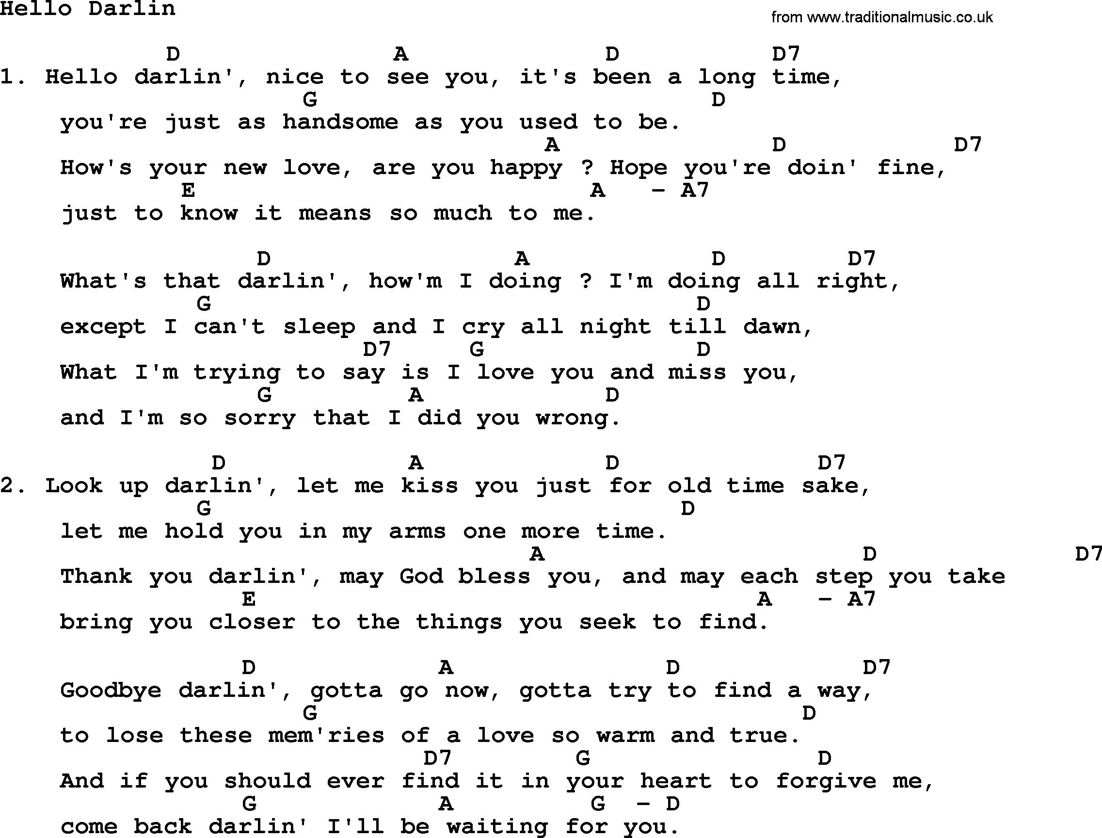 Hello Ukulele Chords Loretta Lynn Song Hello Darlin Lyrics And Chords