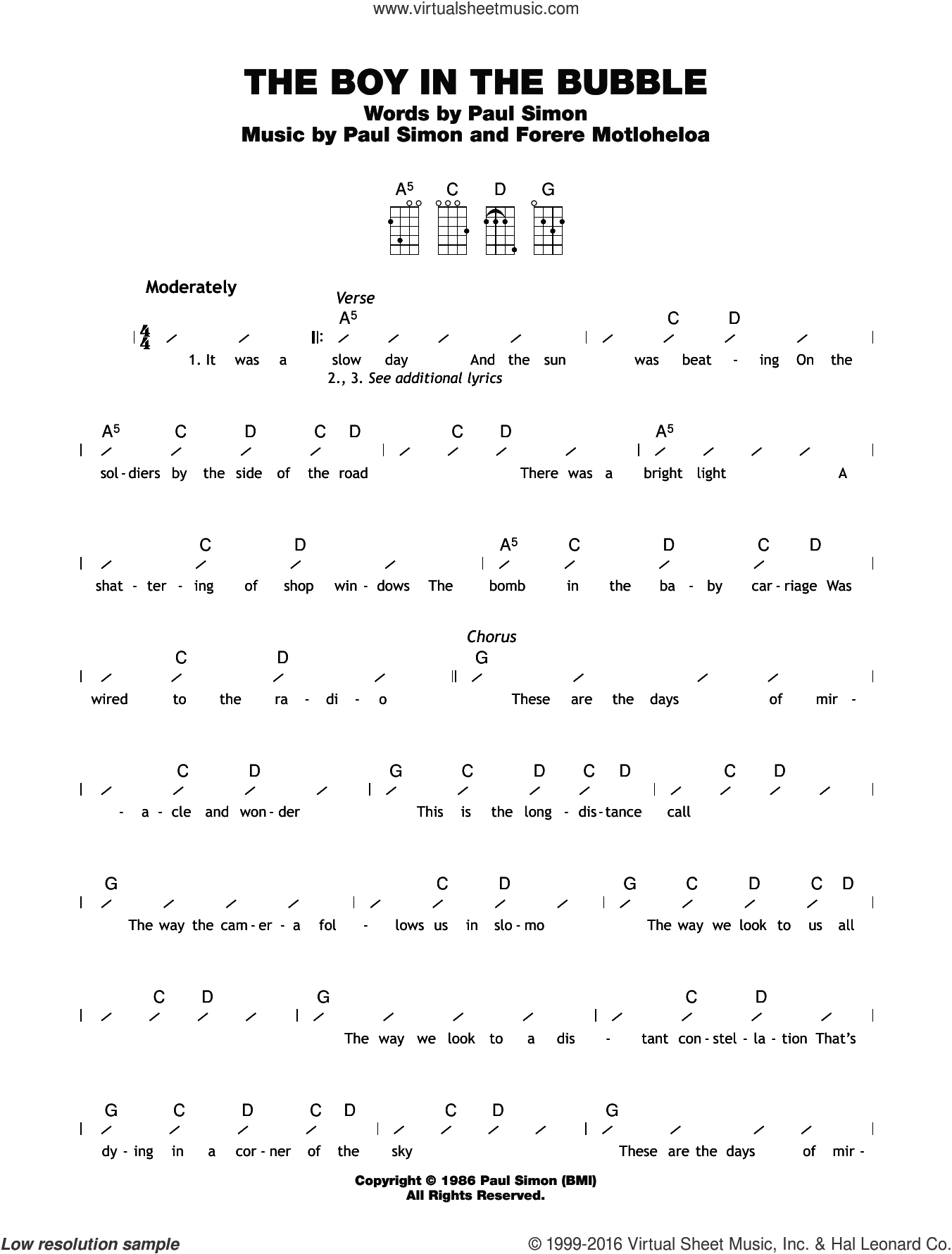 Hello Ukulele Chords Simon The Boy In The Bubble Sheet Music For Ukulele Chords
