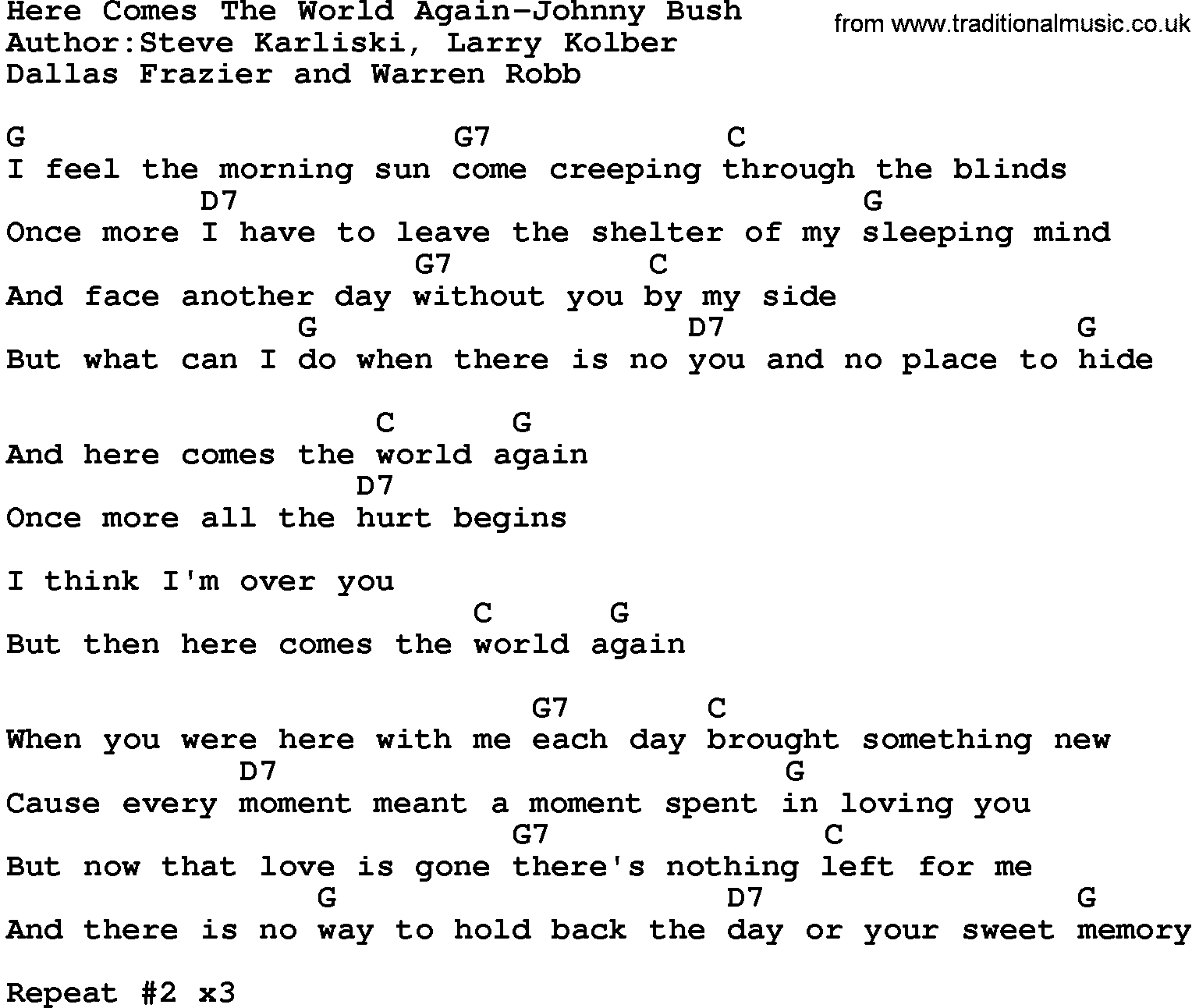 Here Comes The Sun Chords Country Musichere Comes The World Again Johnny Bush Lyrics And Chords