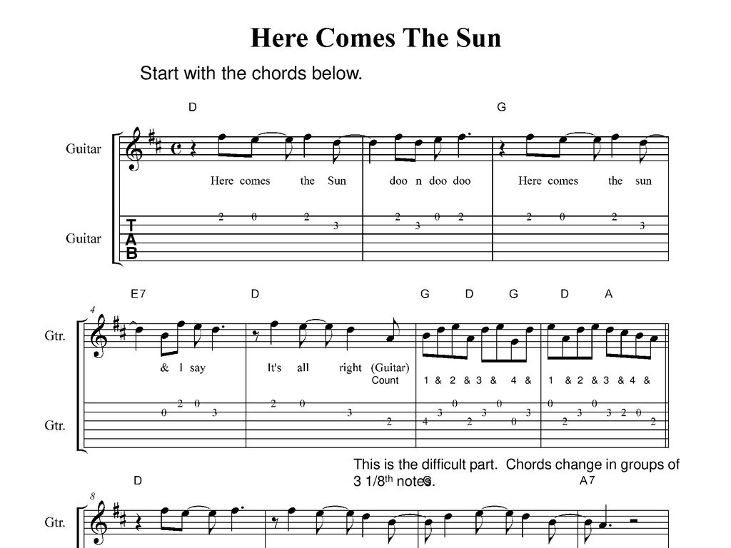 Here Comes The Sun Chords Here Comes The Sun Class Project Ppt Download