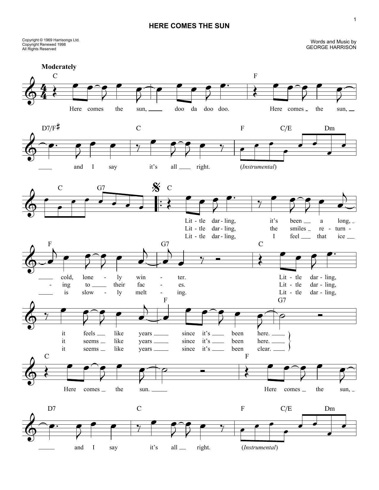 Here Comes The Sun Chords Here Comes The Sun Sheet Music The Beatles Lead Sheet Fake Book