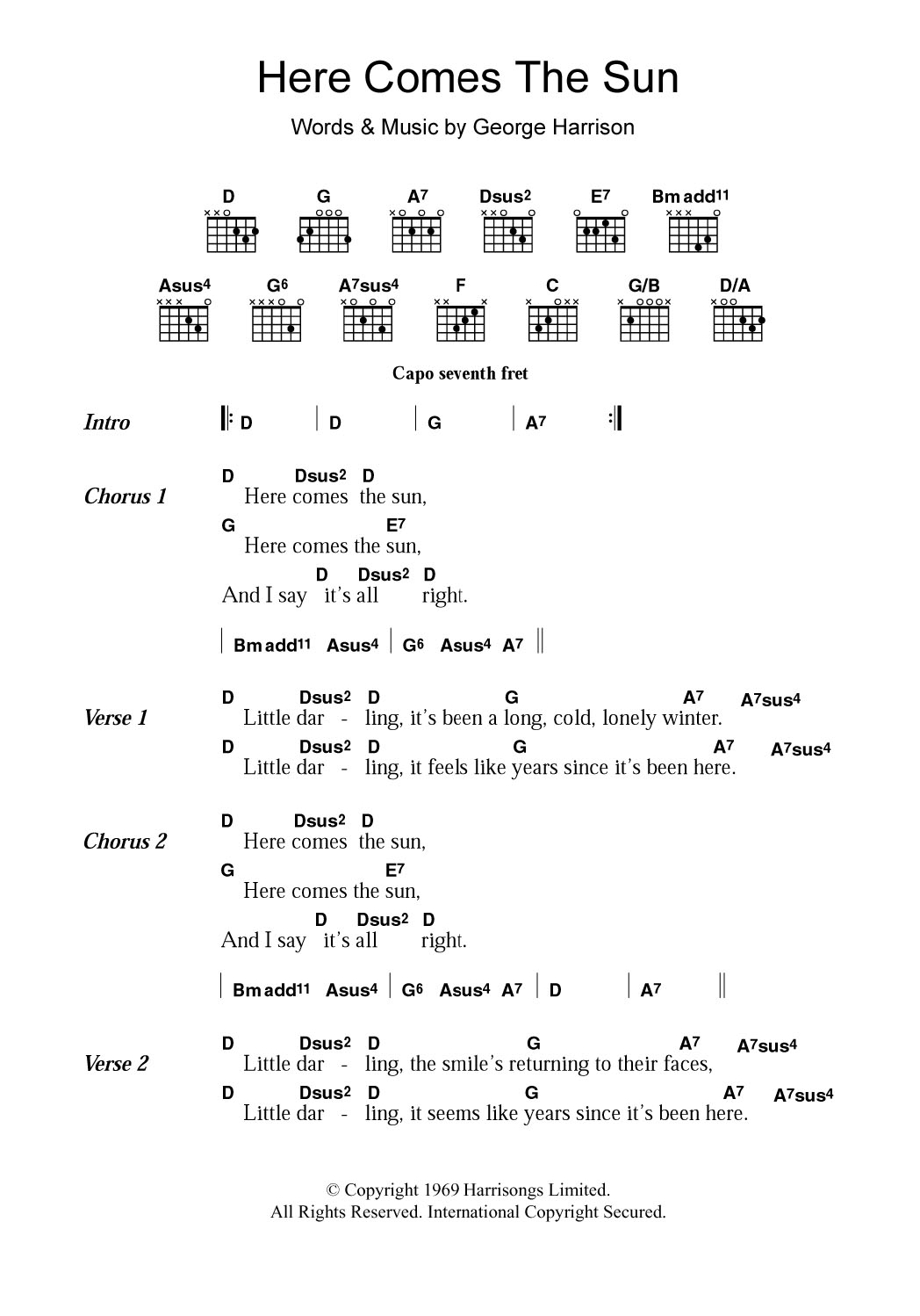 Here Comes The Sun Chords Here Comes The Sun The Beatles Piano Vocal Guitar Right Hand Melody Digital Sheet Music
