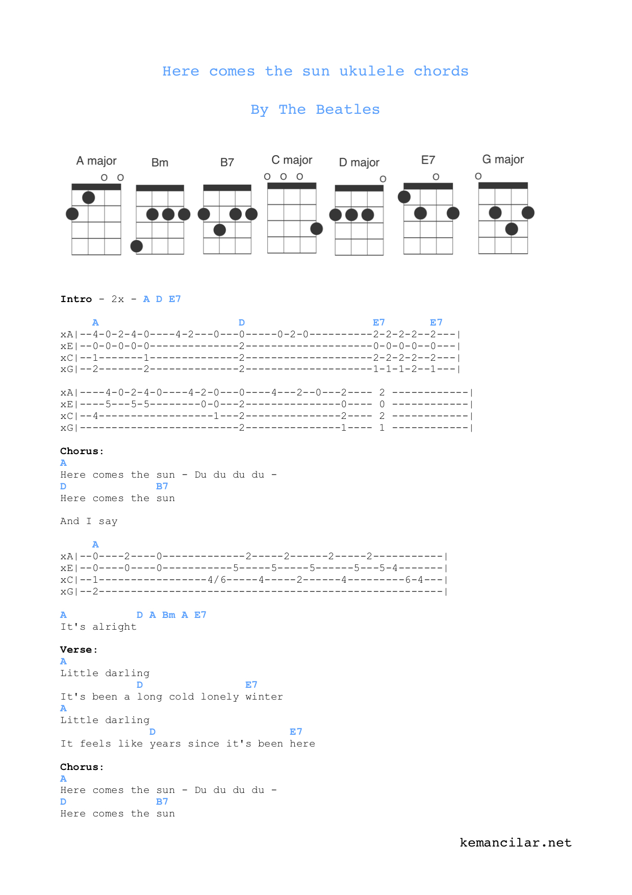 Here Comes The Sun Chords Here Comes The Sun Ukulele Chords Free Sheet Music
