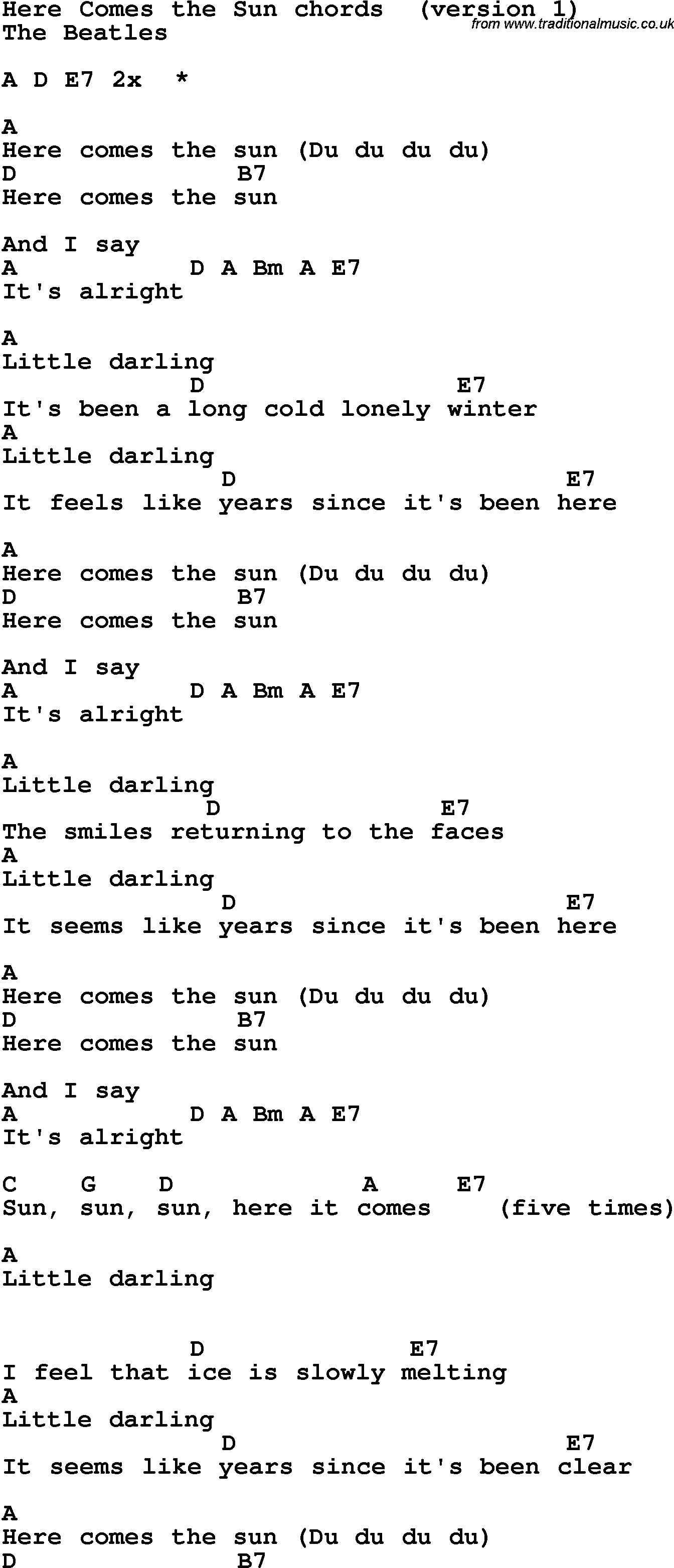 Here Comes The Sun Chords Song Lyrics With Guitar Chords For Here Comes The Sun The Beatles