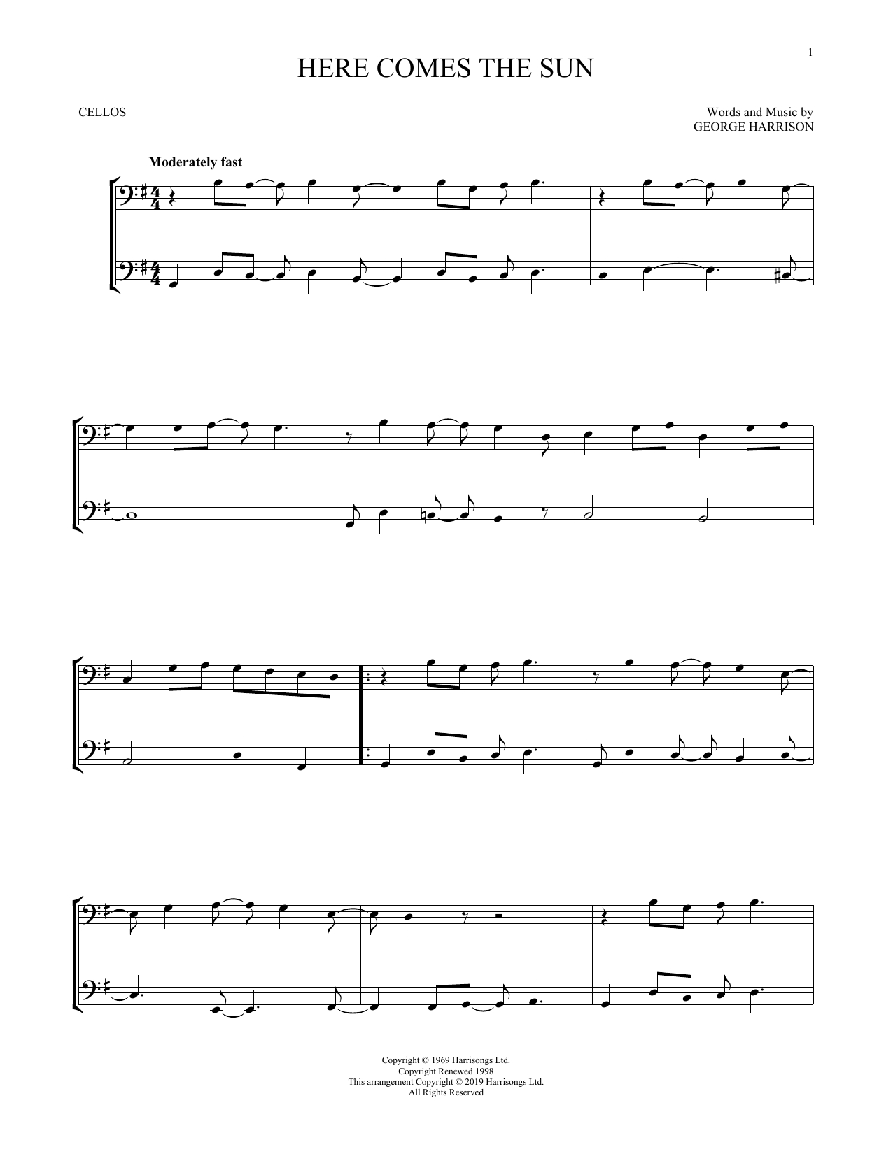 Here Comes The Sun Chords The Beatles Here Comes The Sun Sheet Music Notes Chords Download Printable Cello Duet Sku 412449