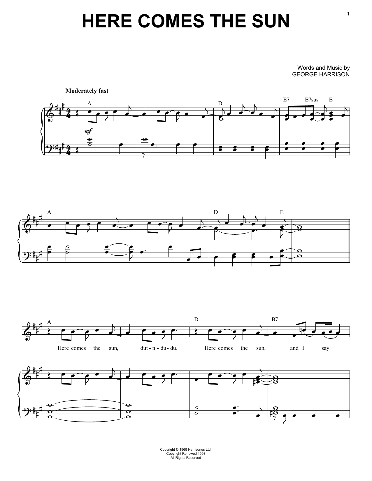 Here Comes The Sun Chords The Beatles Here Comes The Sun Sheet Music Notes Chords Download Printable Piano Vocal Sku 90971