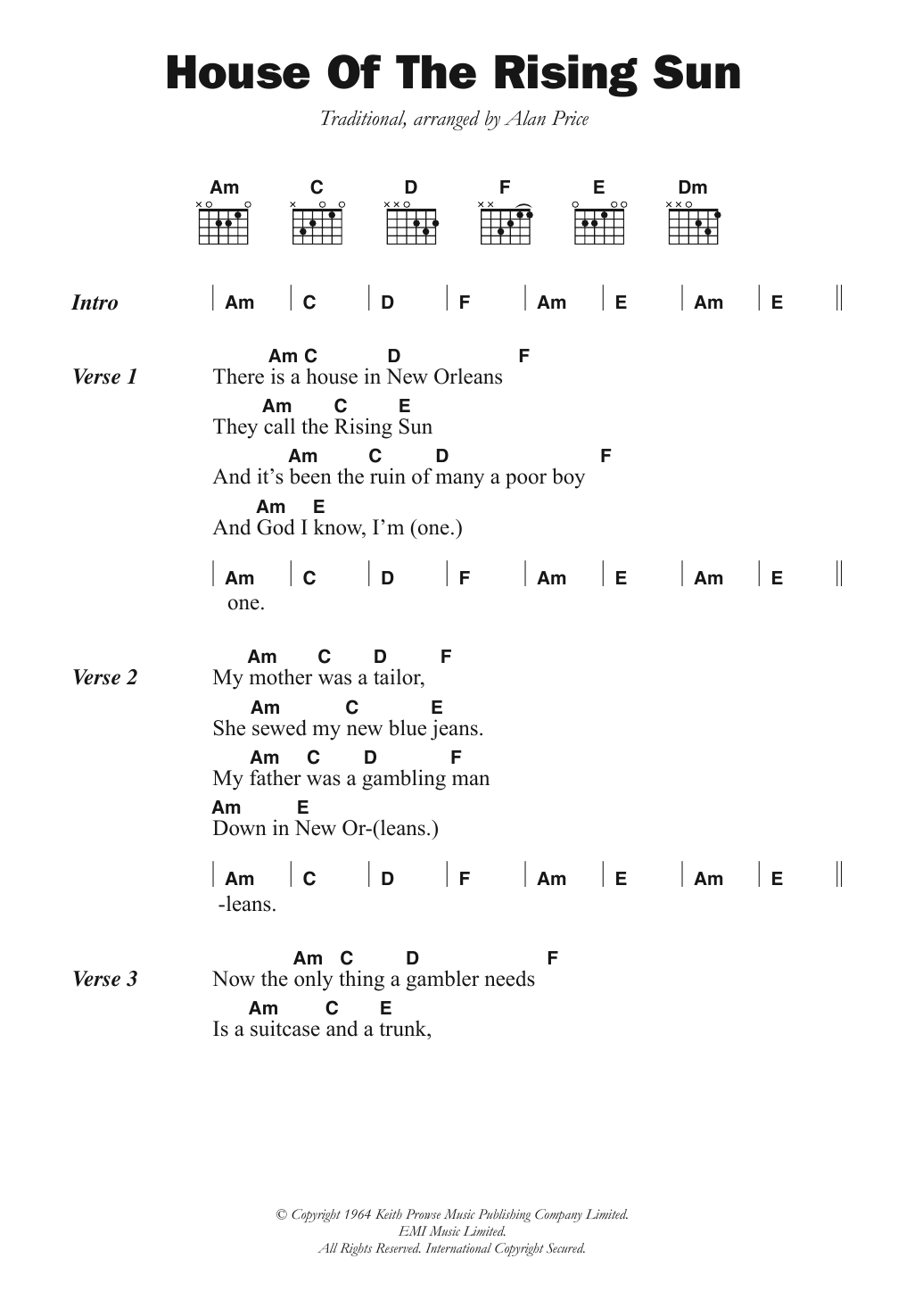 Here Comes The Sun Chords The House Of The Rising Sun The Animals Piano Vocal Guitar Right Hand Melody Digital Sheet Music