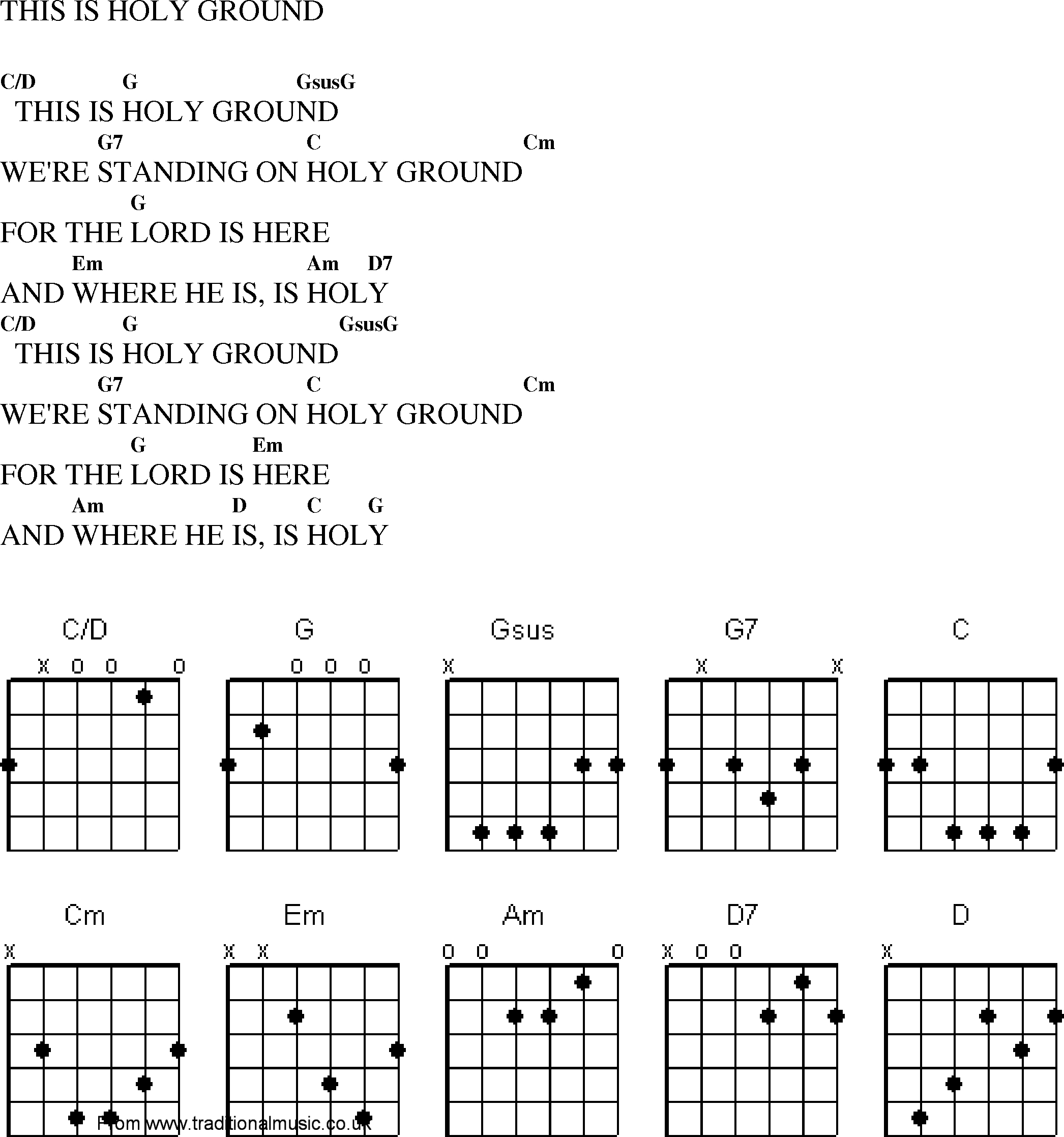 Here I Am To Worship Chords Christian Gospel Worship Song Lyrics With Chords This Is Holy Ground
