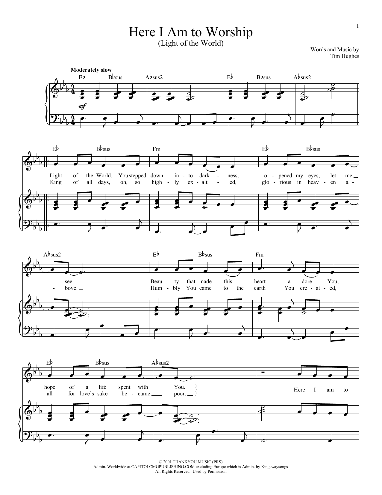 Here I Am To Worship Chords Tim Hughes Here I Am To Worship Light Of The World Sheet Music Notes Chords Download Printable Voice Sku 182965