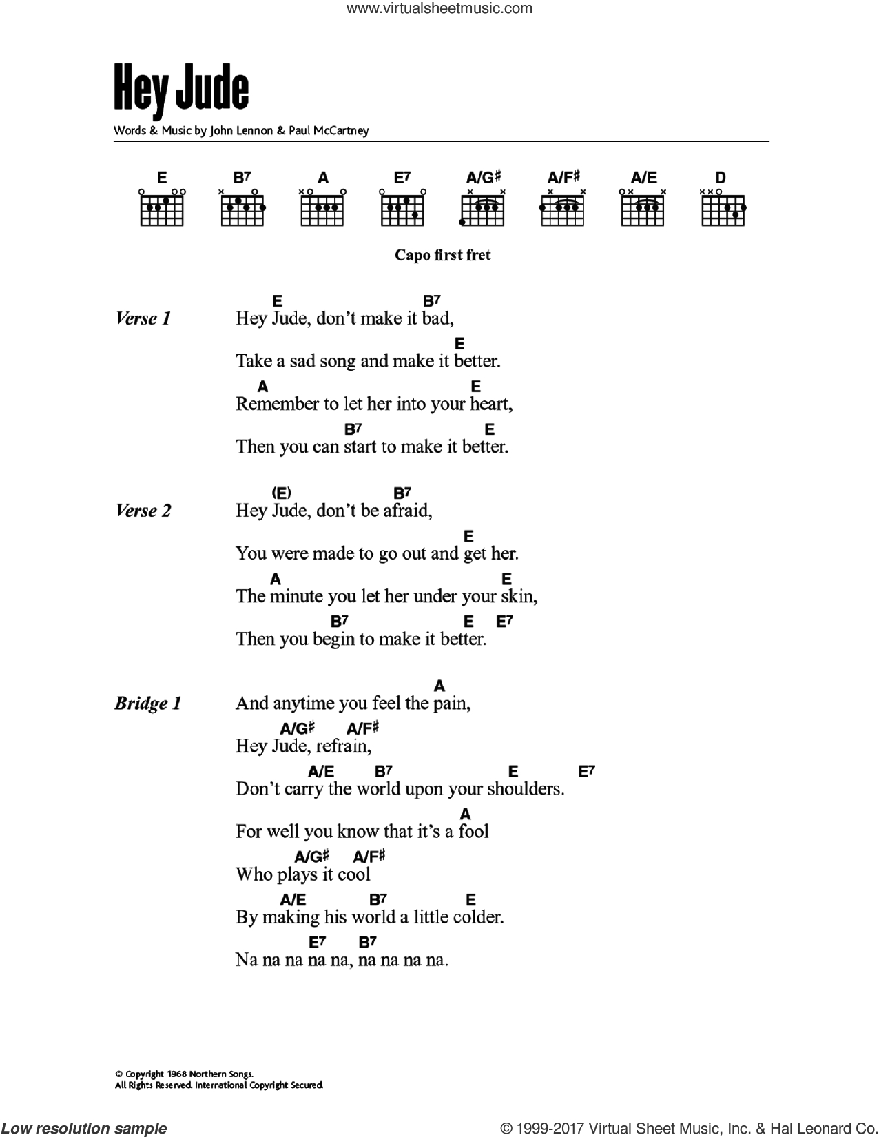 Hey Jude Chords Beatles Hey Jude Sheet Music For Guitar Chords Pdf