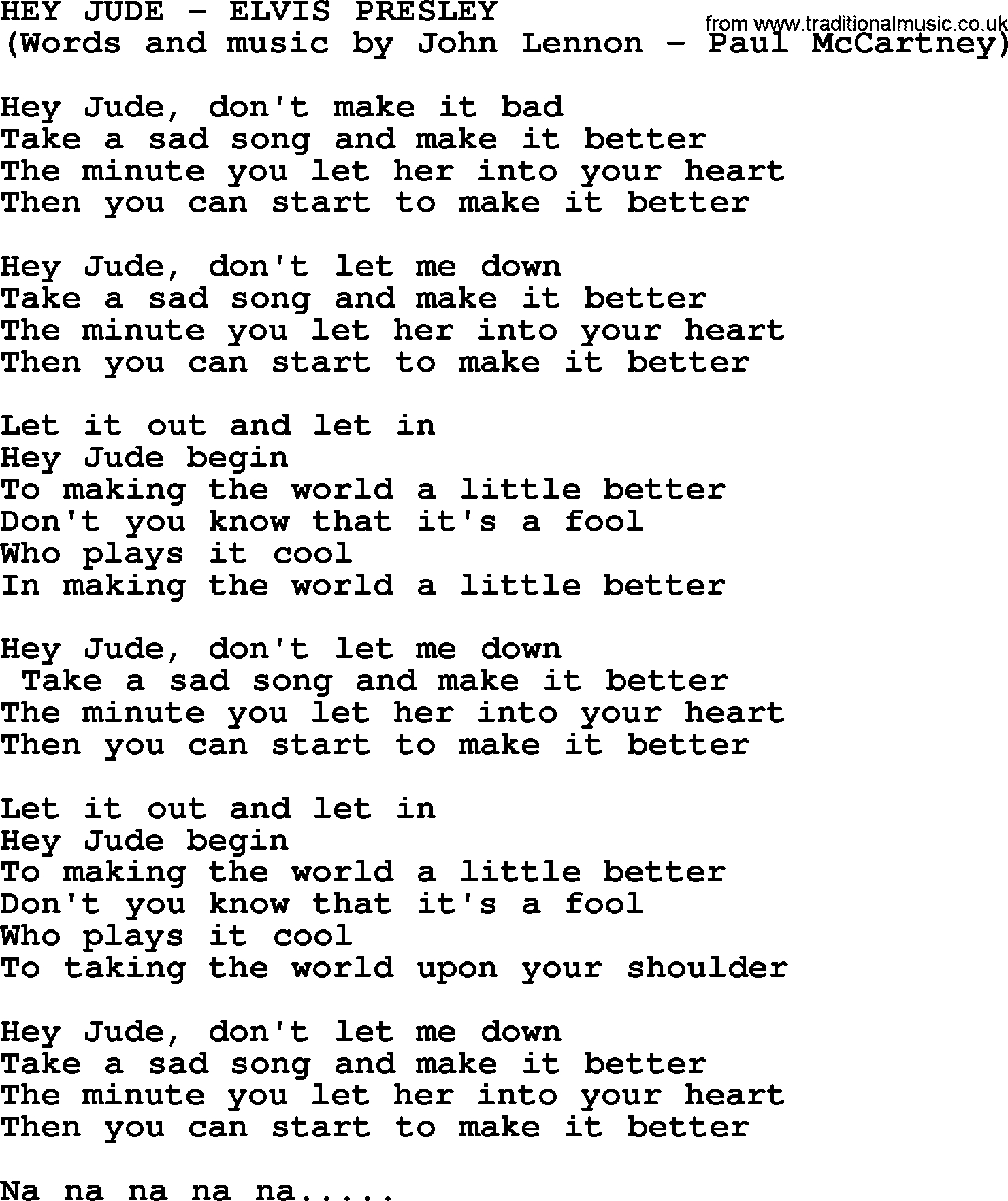 Hey Jude Chords Hey Jude Elvis Presley Lyrics