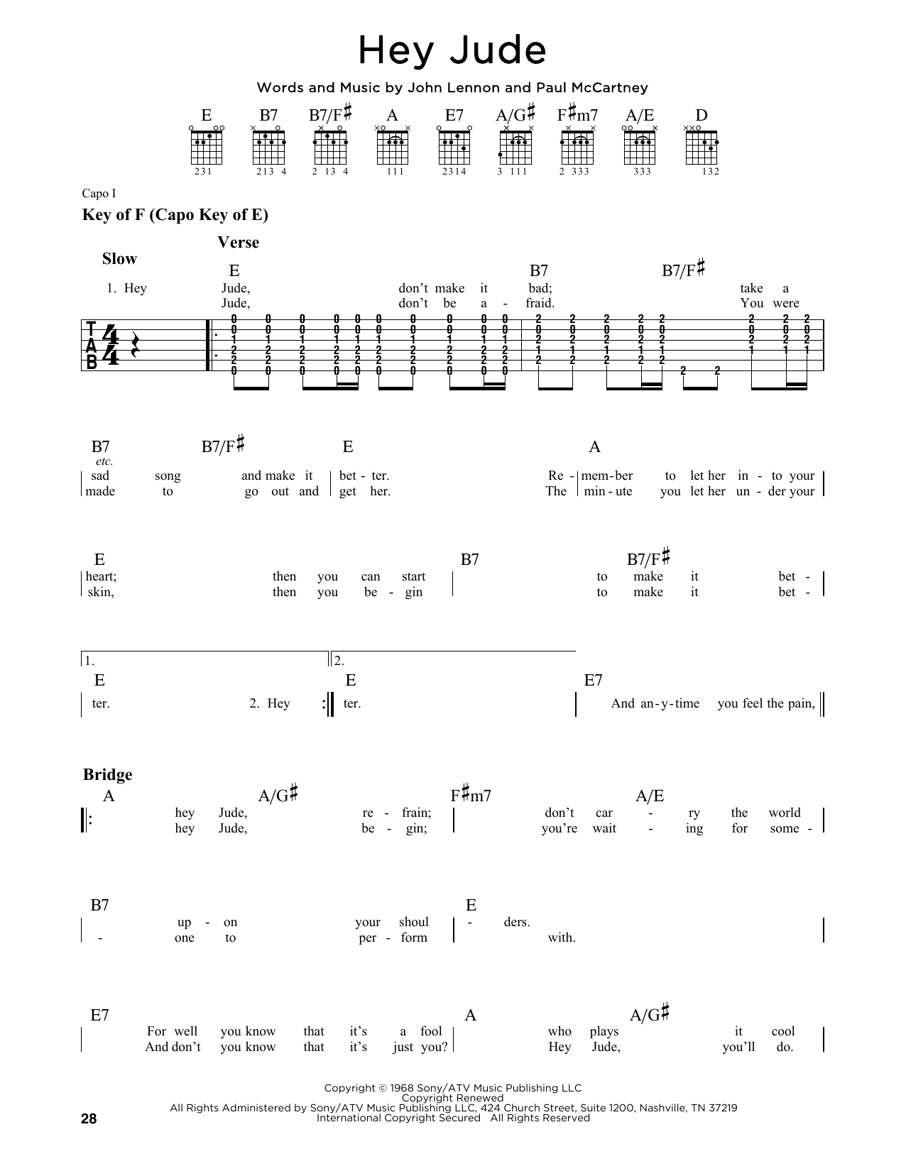 Hey Jude Chords Hey Jude Guitar Lead Sheet Print Sheet Music Now