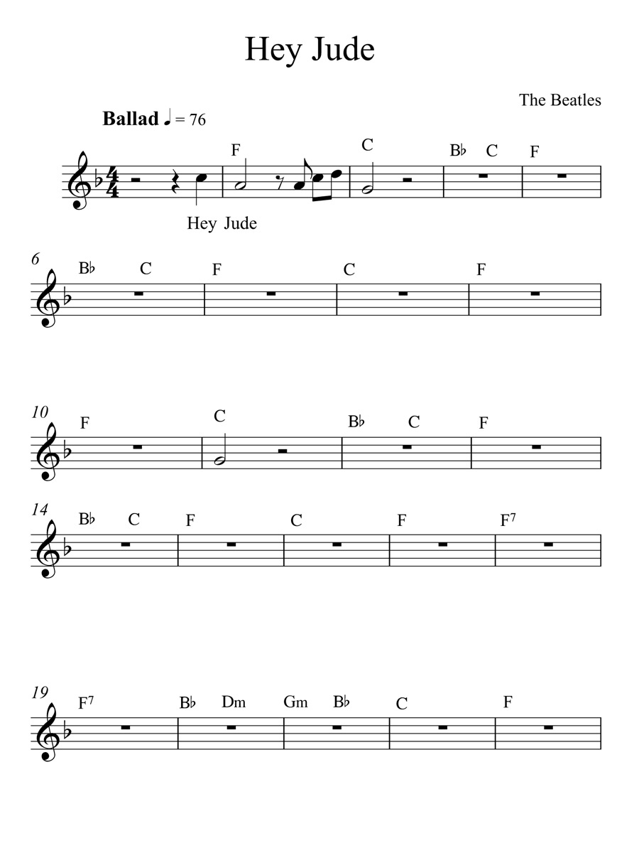 Hey Jude Chords Hey Jude The Beatles Full Song With Chords Sheet