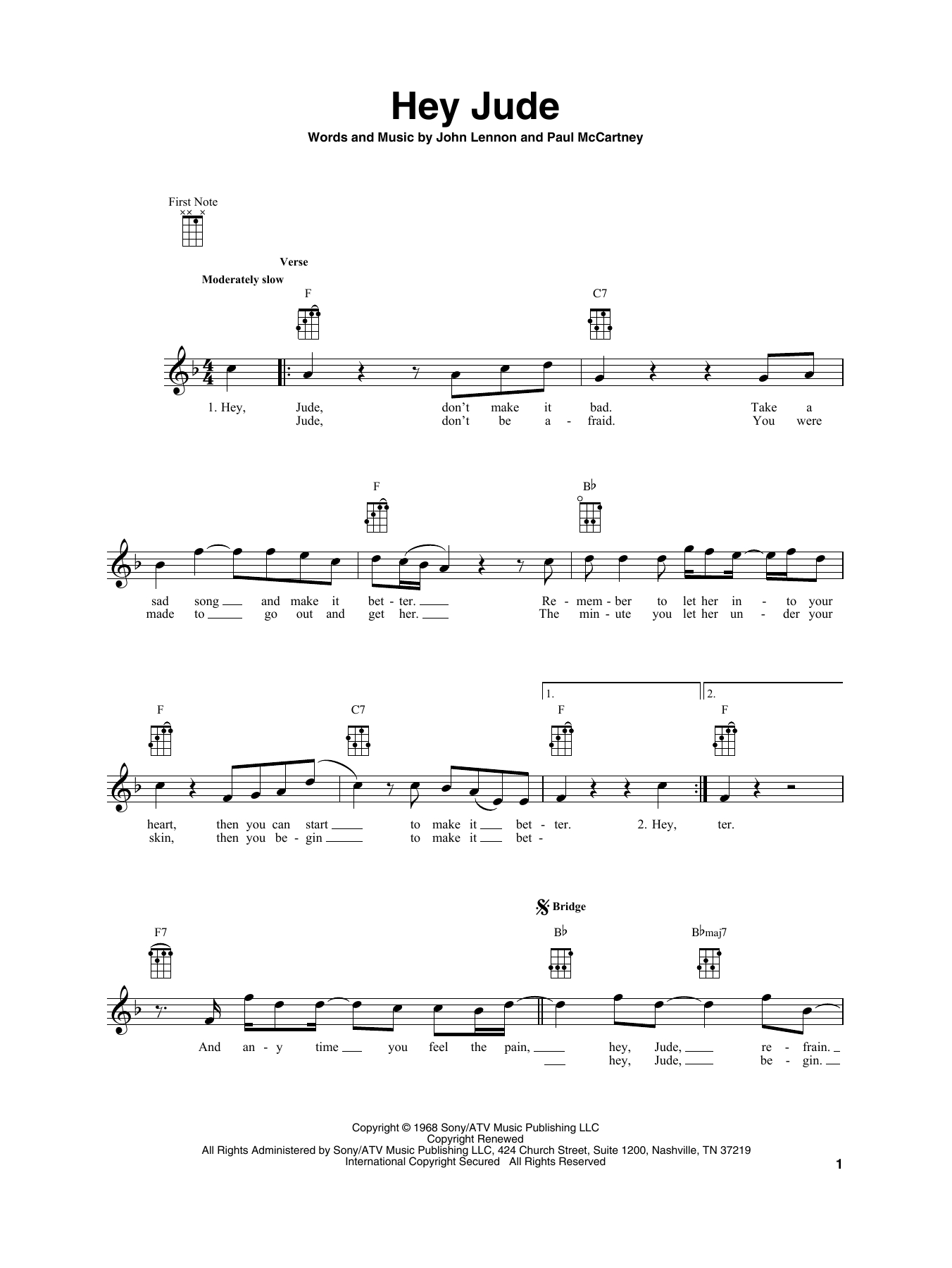 Hey Jude Chords Sheet Music Digital Files To Print Licensed The Beatles Digital