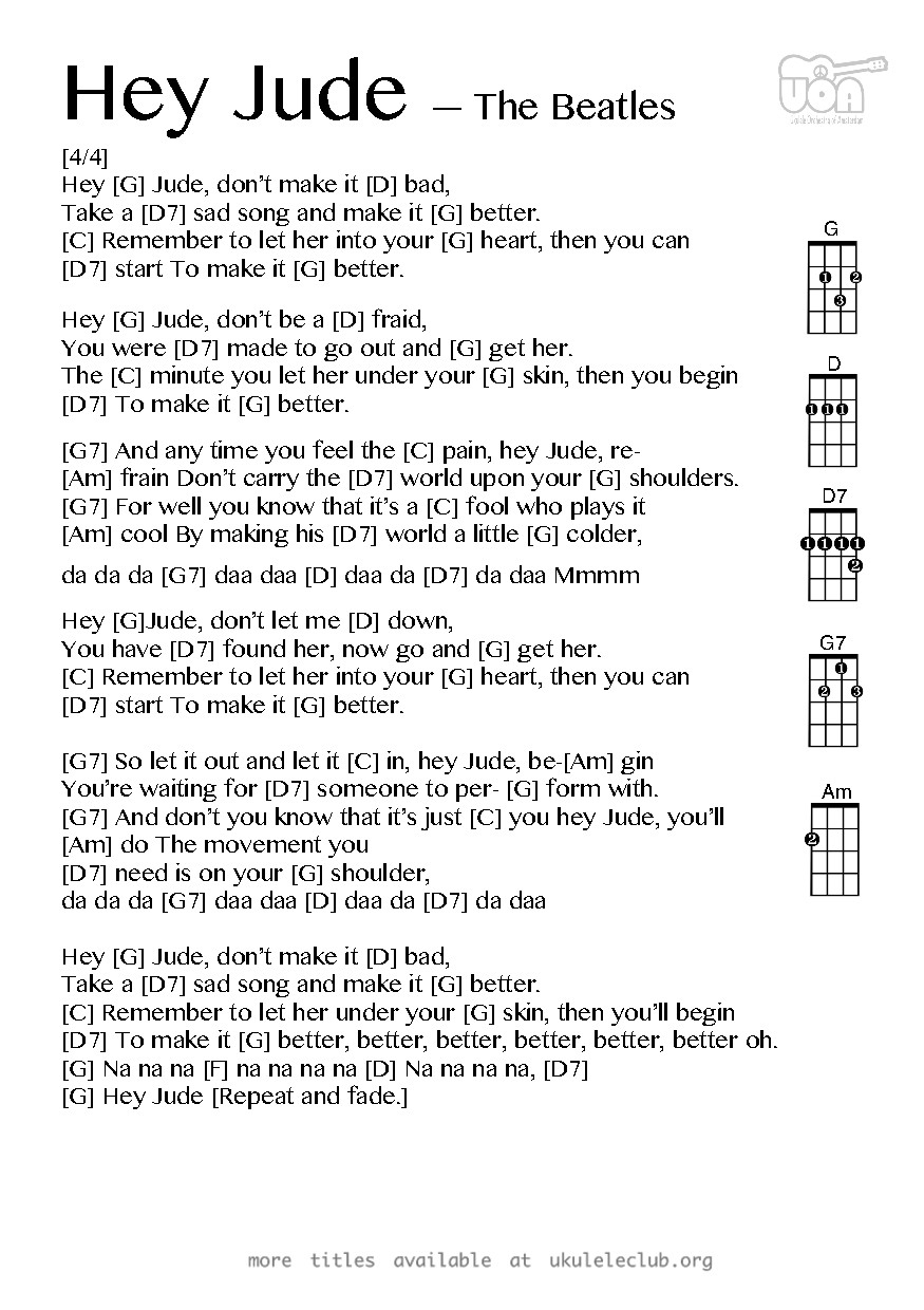 Hey Jude Chords Ukulele Chords Hey Jude The Beatles
